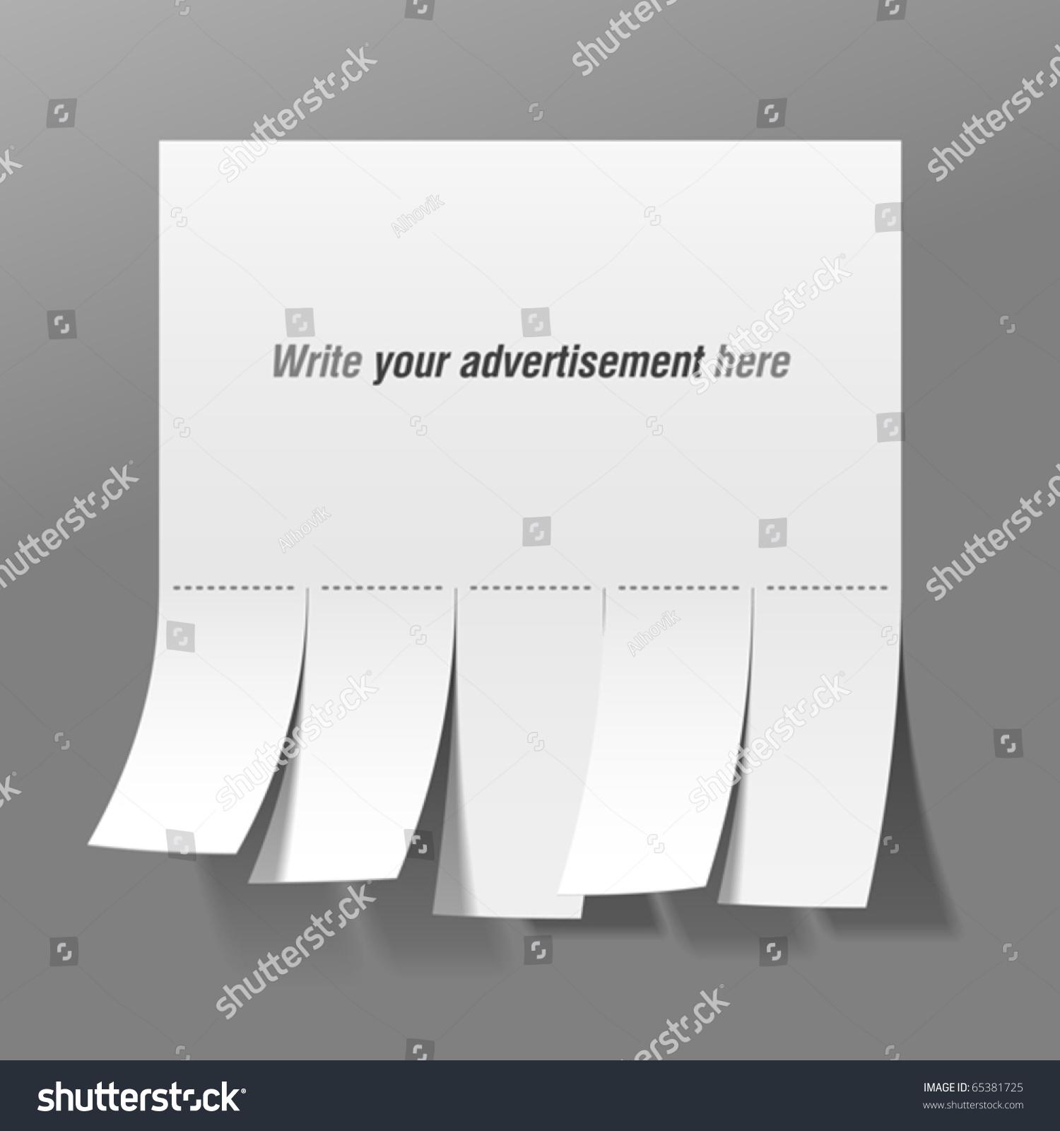 Blank Advertisement Tear Off Tabs Vector Vector 65381725 – Tear off Tabs