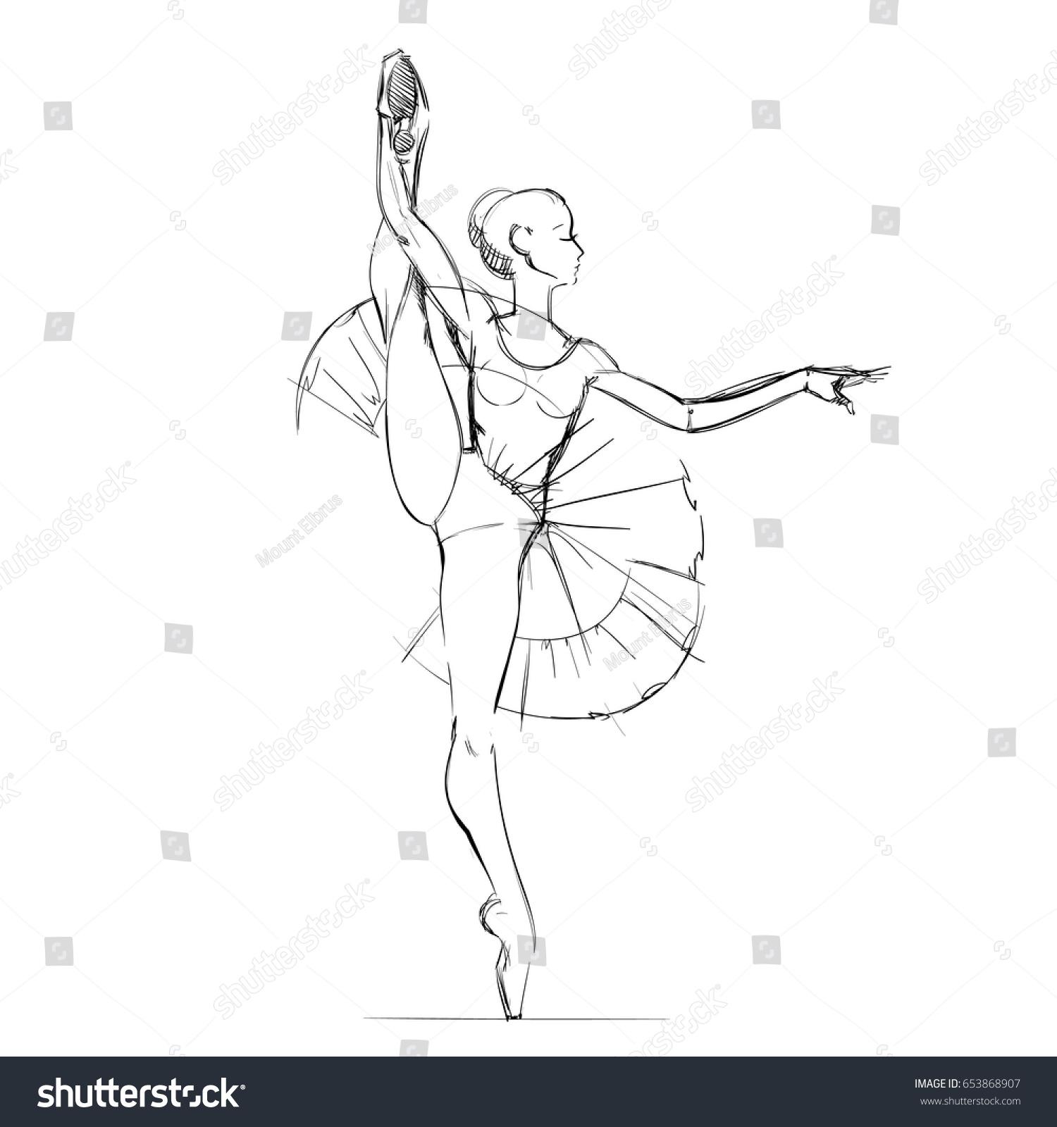 young ballerina freehand drawing ballet dancer stock vector