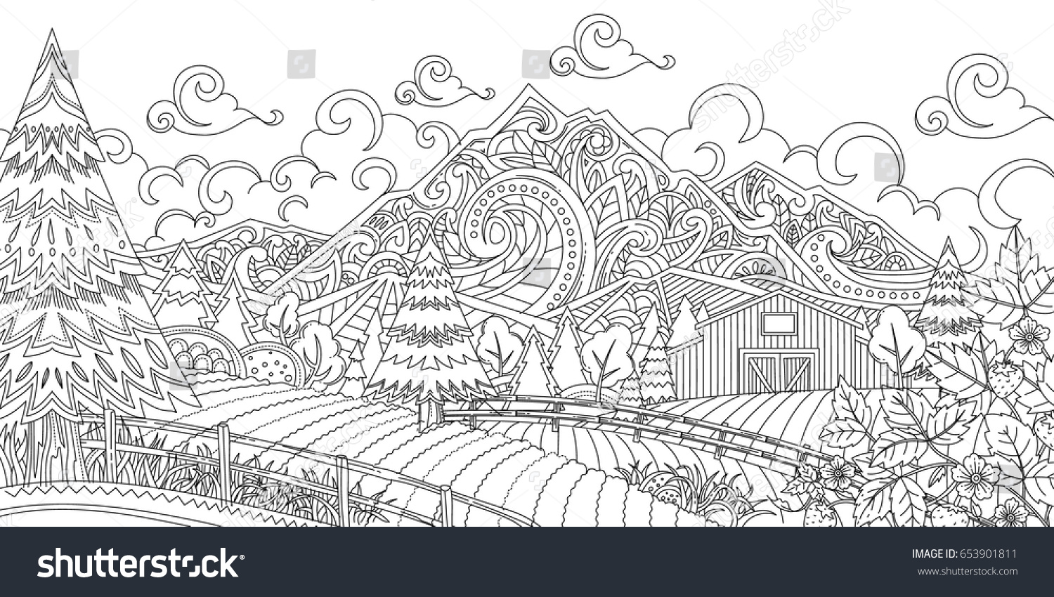 Adult Coloring Illustration Of New Zealand Farm