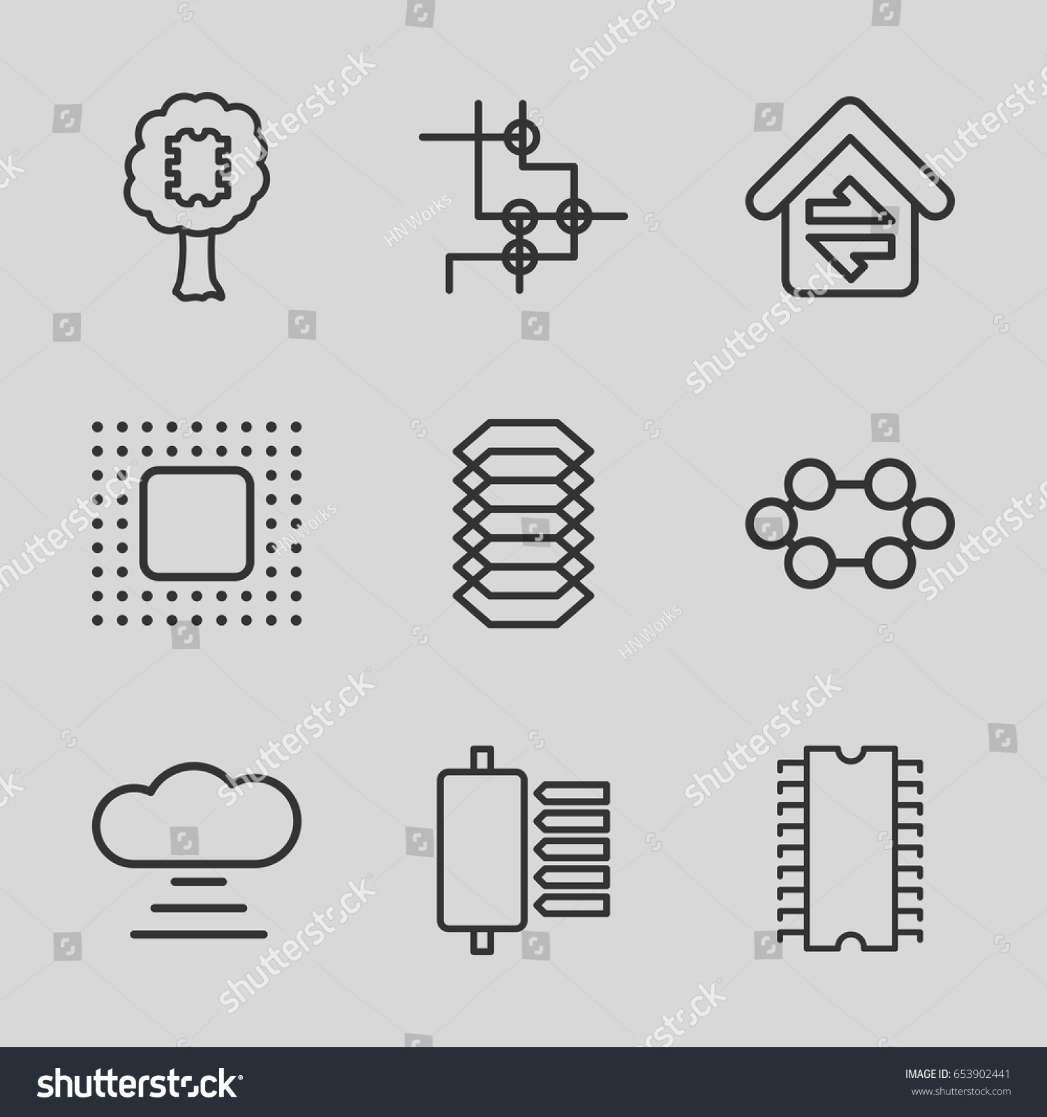 Circuit Icons Set Set 9 Circuit Stock Vector (Royalty Free ...