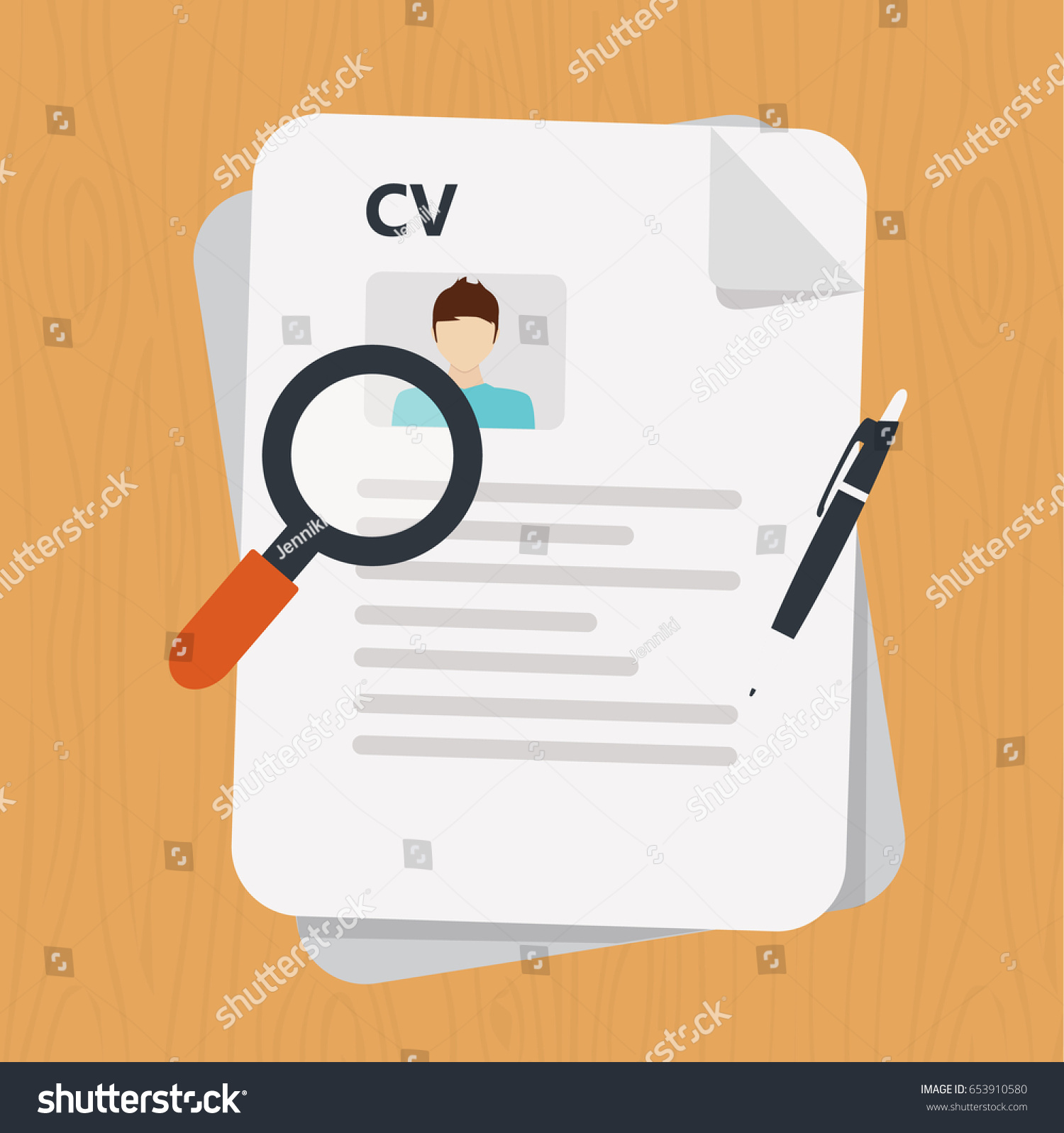 curriculum vitae document icon human resources stock vector