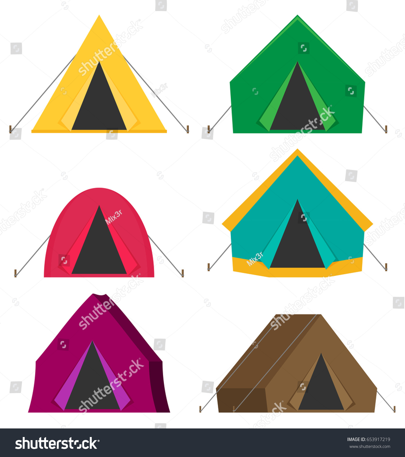 Camping Tent Vector Icons Isolated On Stock Vector ...
