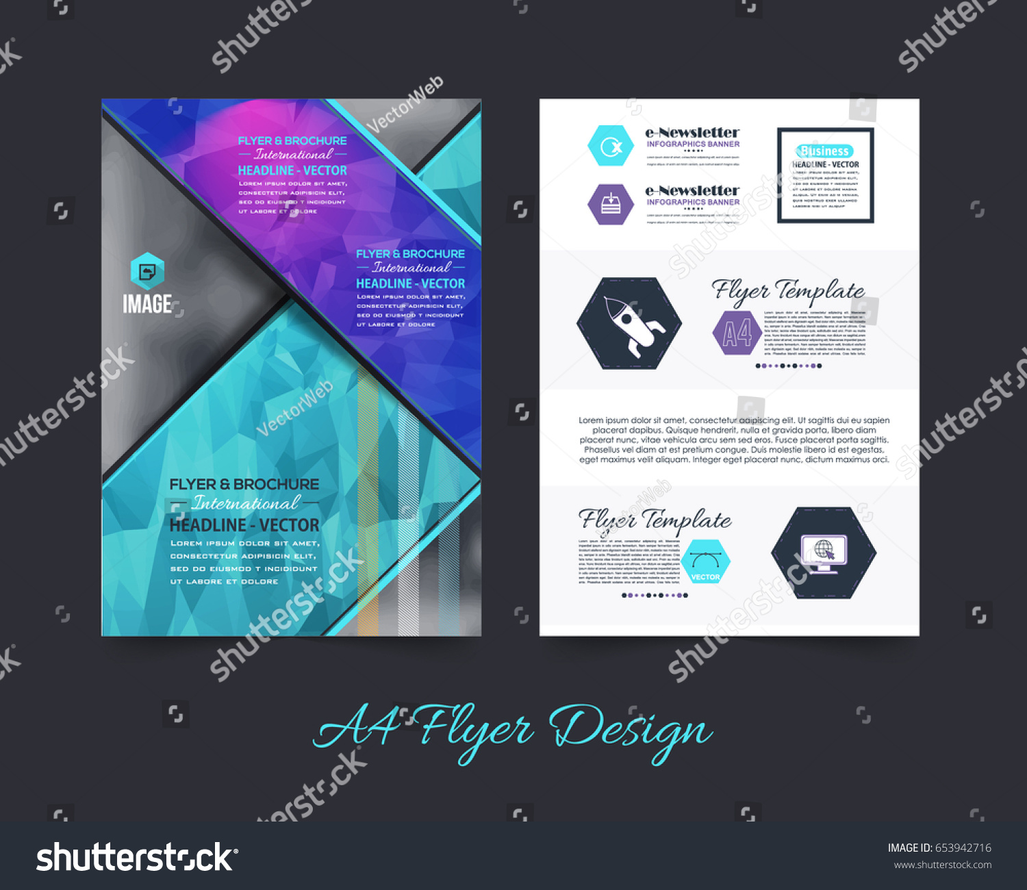 Business pamphlet polygonal booklet template a 4 stock vector business pamphlet or polygonal booklet template a4 document and vector background flyer geometric low wajeb Image collections