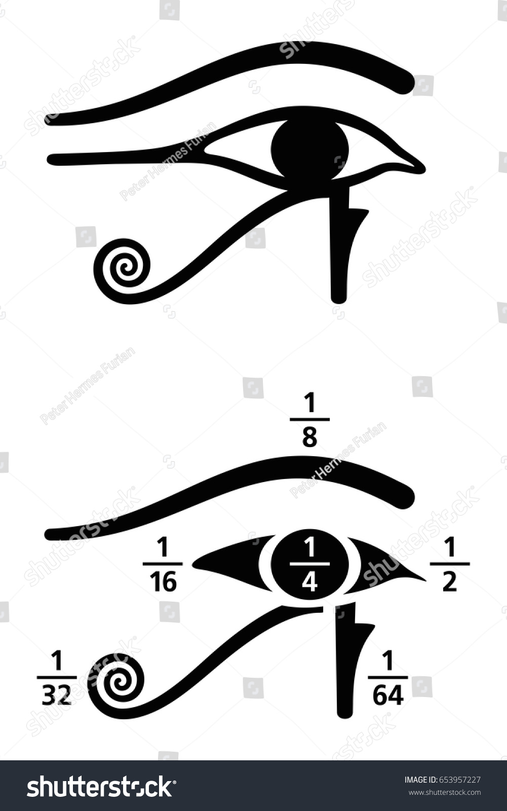 Eye Horus Fractions Values Ancient Egyptian Stock Vector Royalty