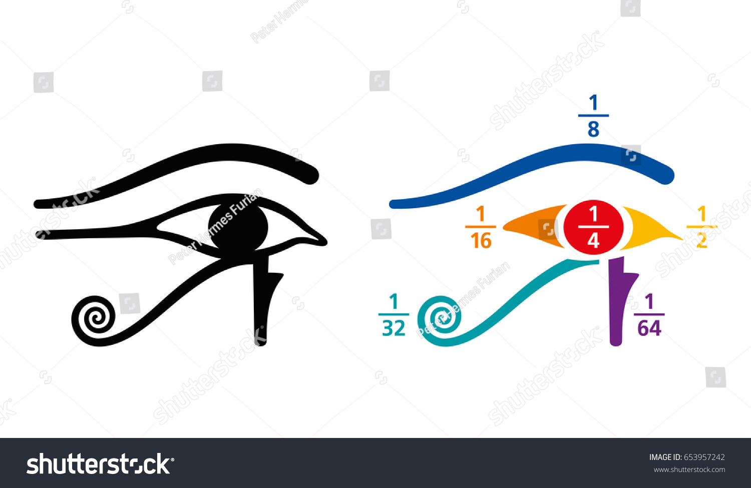eye horus fractions arithmetic values ancient stock vector