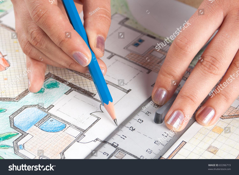 Interior Designer Draws Home Floor Plan Stock Photo 65396719 ... - ^