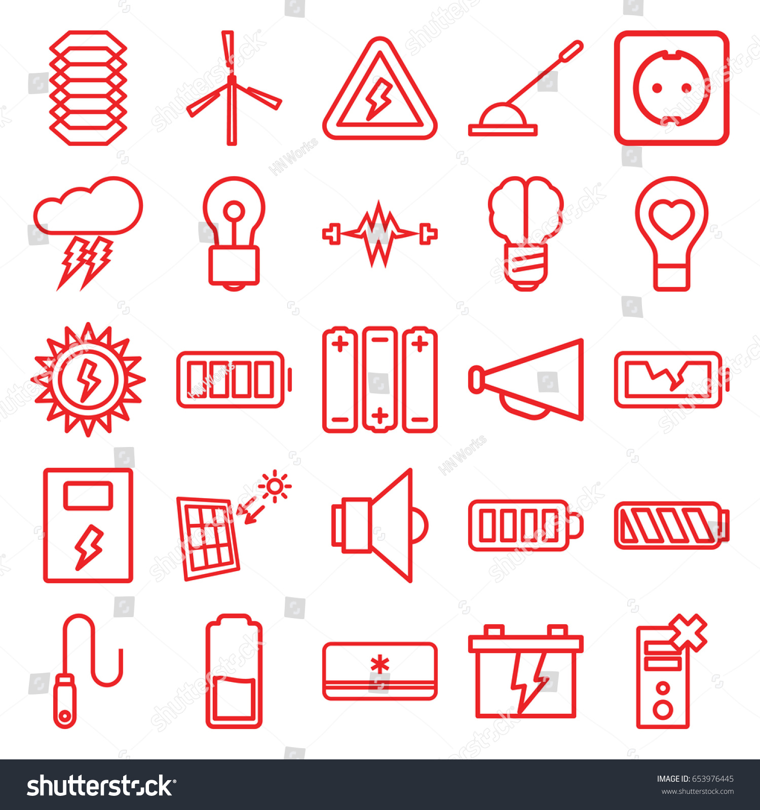 Royalty Free Electricity Icons Set Of 25 653976445 Stock Plug Sockets And Wiring For Image Outline Such As Mill Bulb Megaphone Battery Heart Baterry Arm Lever Wire Ful