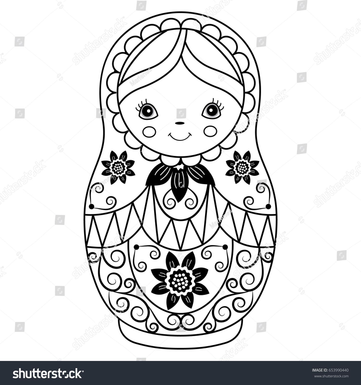 vector black white matryoshka flowers pattern stock vector