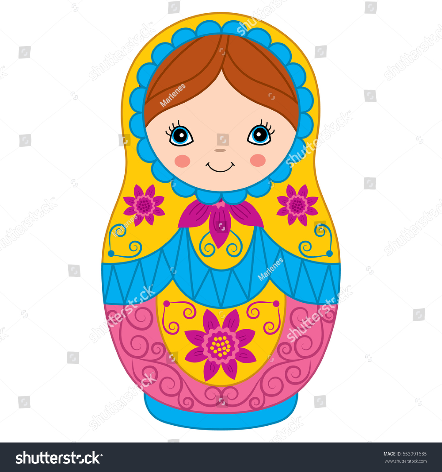 vector colorful matryoshka flowers pattern traditional stock