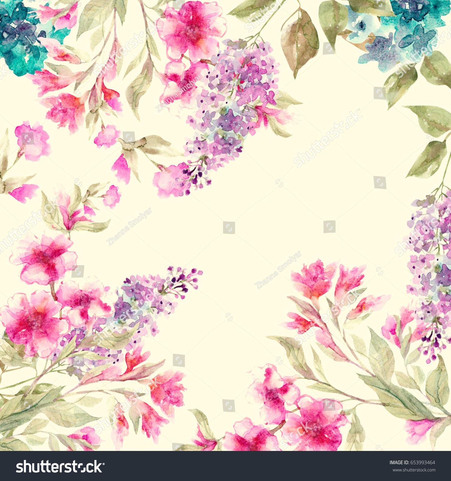 Beautiful Floral Garland Watercolor Spring Flowers Stock