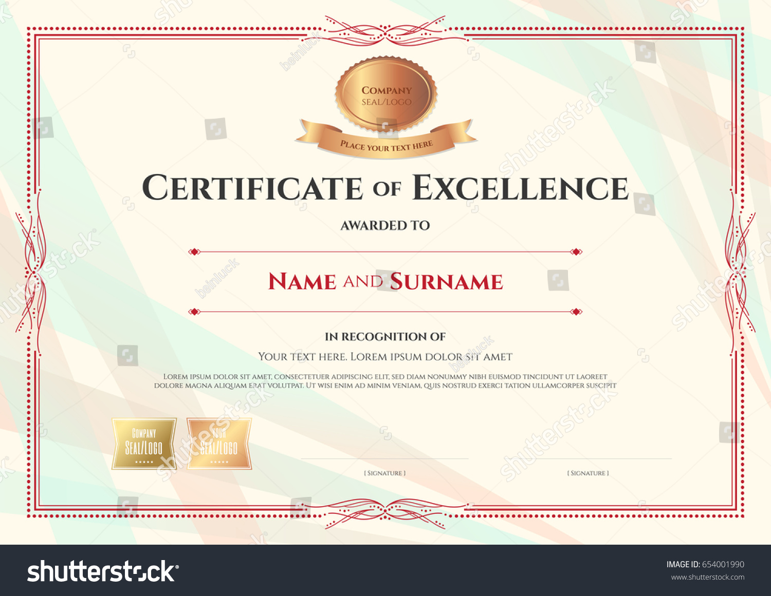 Certificate Excellence Template On Abstract Ribbon Stock Vector ...