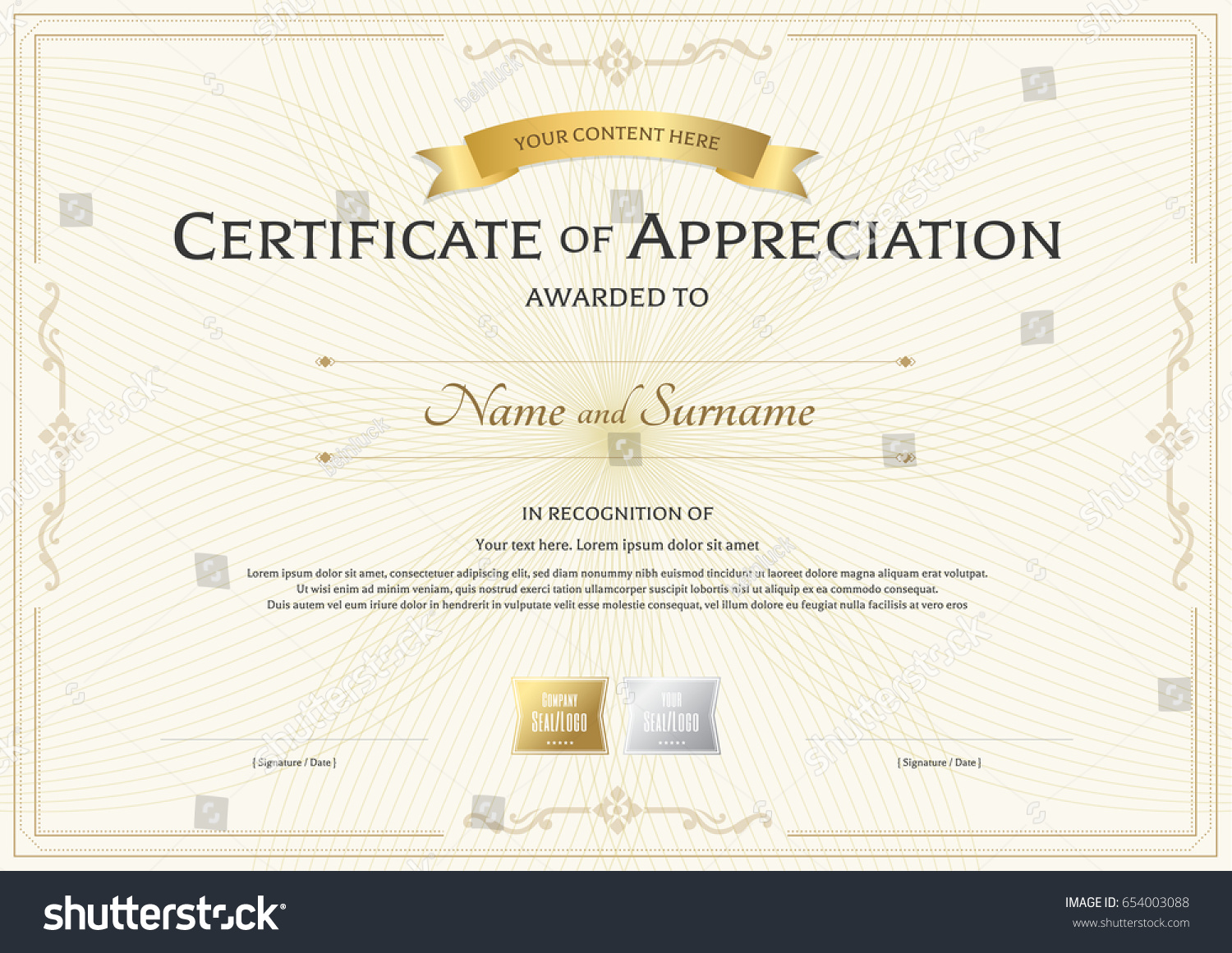 Certificate appreciation template gold award ribbon stock vector certificate of appreciation template with gold award ribbon on abstract guilloche background with vintage border style yadclub Images