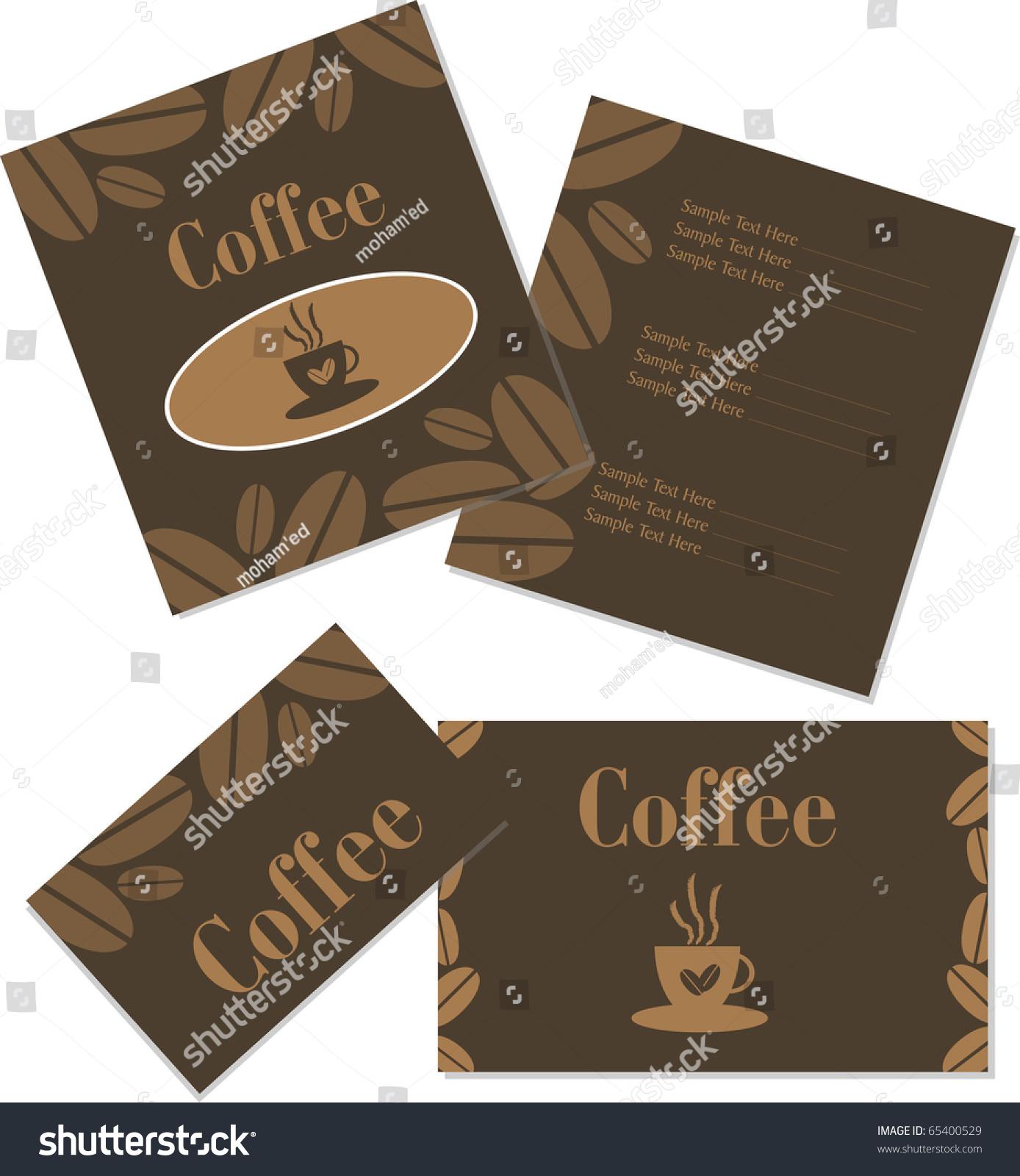 Menu Business Card Design Coffee Shop Stock Vector 65400529 ...