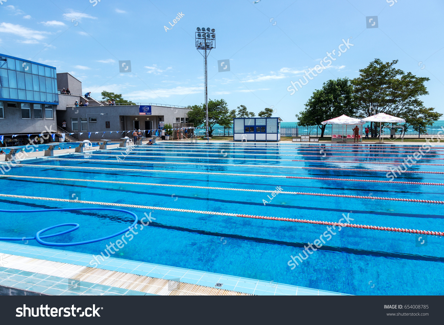 VARNA, BULGARIA   CIRCA 2017: Sports Swimming Pool With Dividing Paths For  Competition Without