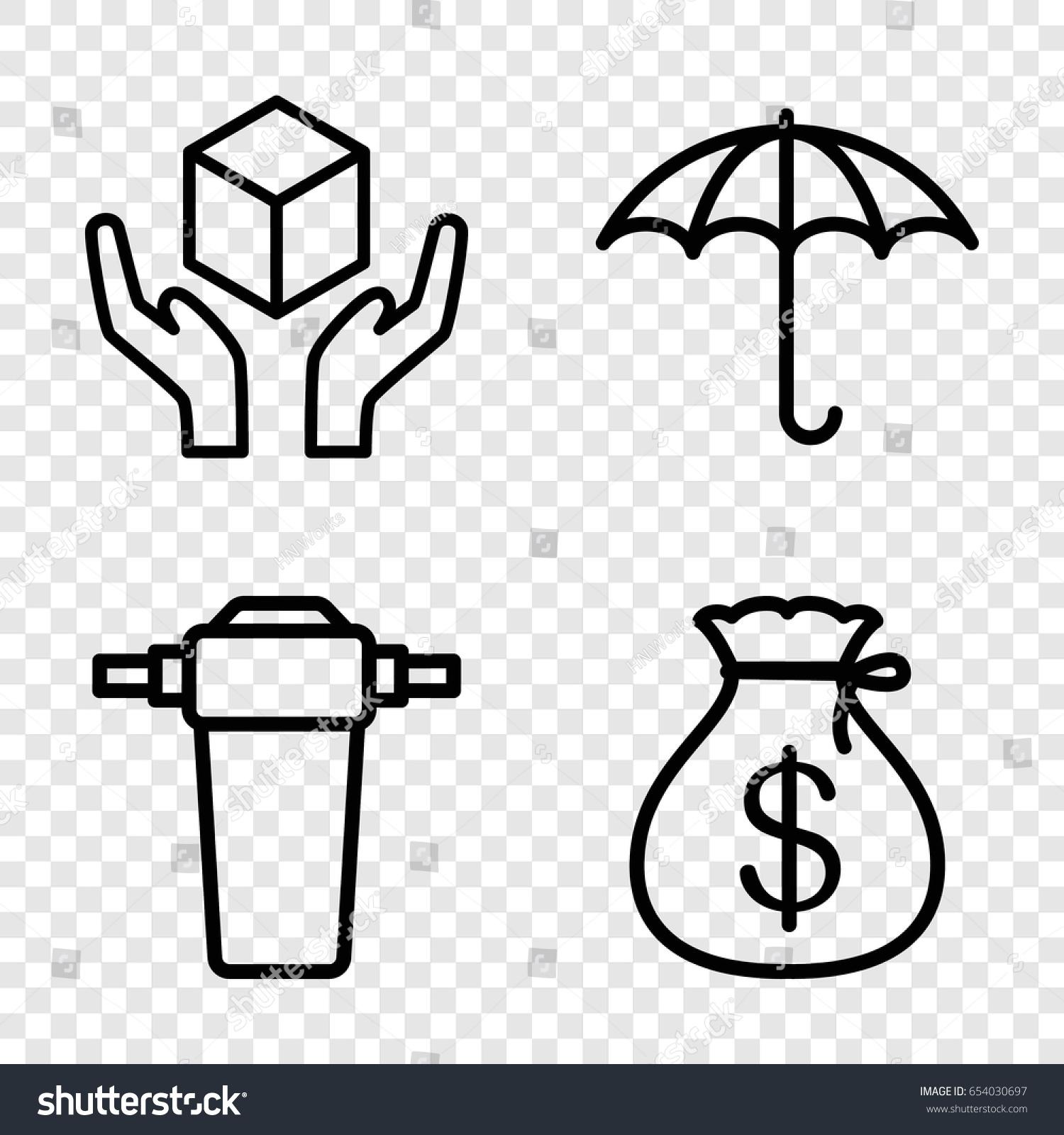 Keep icons set set 4 keep stock vector 654030697 shutterstock keep icons set set of 4 keep outline icons such as money sack keep buycottarizona