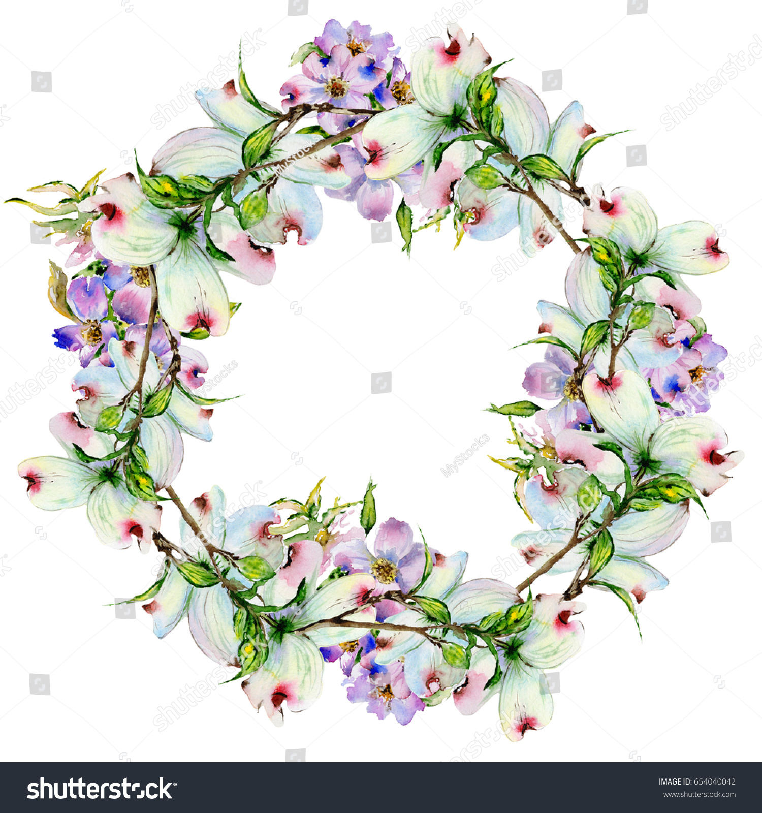 Wildflower dogwood flower wreath in a watercolor style isolated id 654040042 izmirmasajfo
