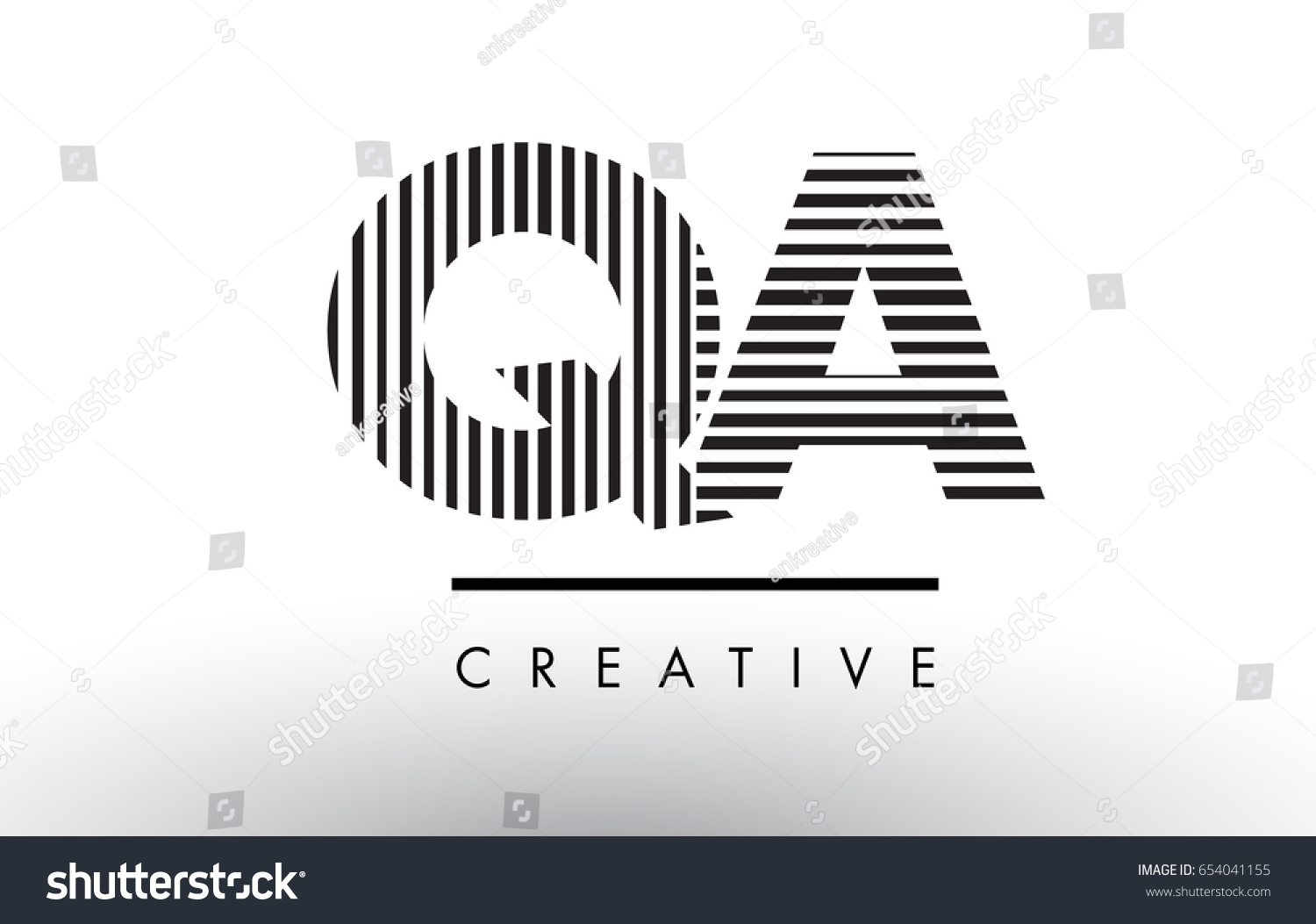 QA Q A Black and White Letter Logo Design with Vertical and Horizontal  Lines.