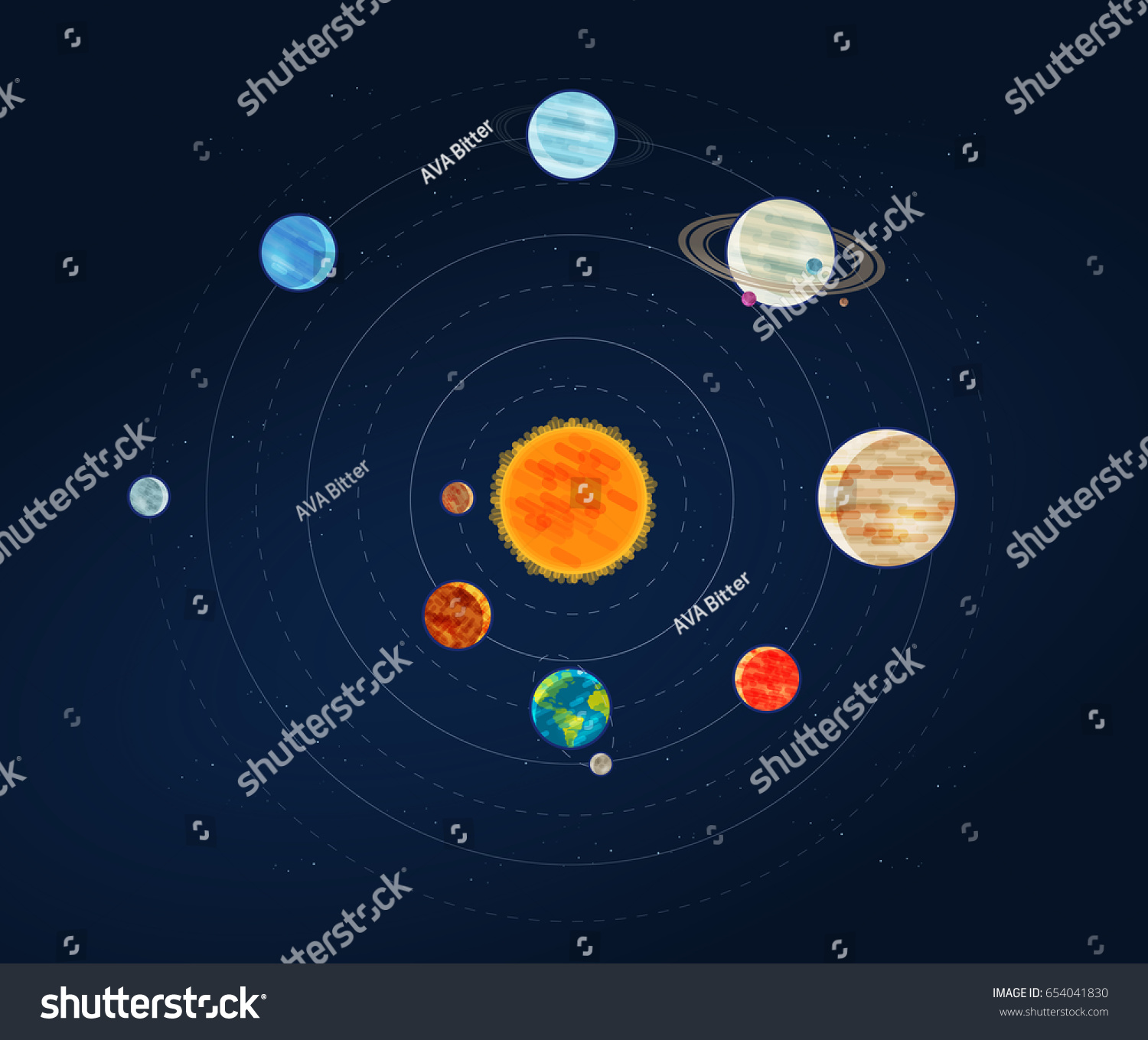 Solar System Galaxy Infographic Space Astronomy Stock ...