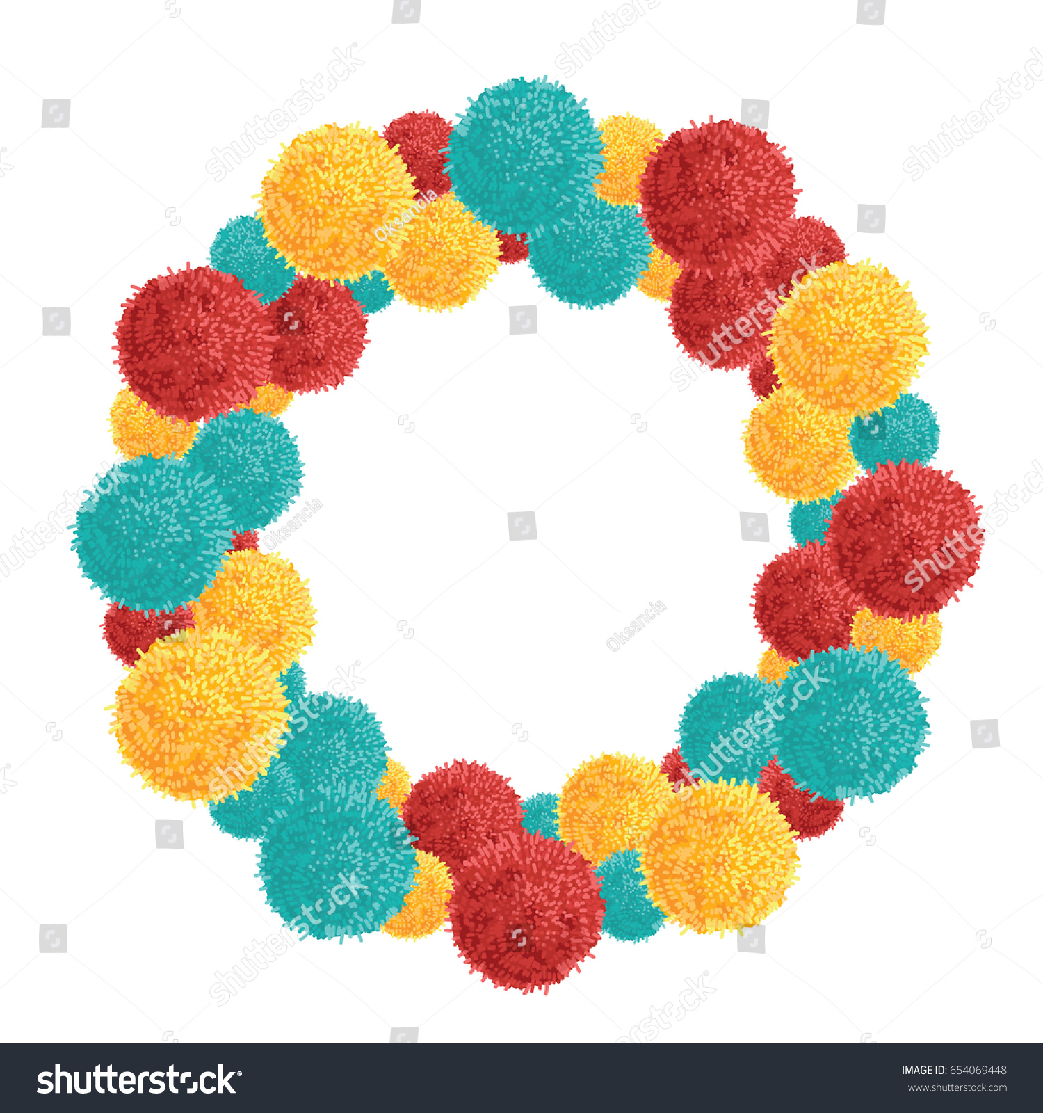 Vector Big Chunky Wreath Colorful Vibrant Stock Vector (Royalty Free ...