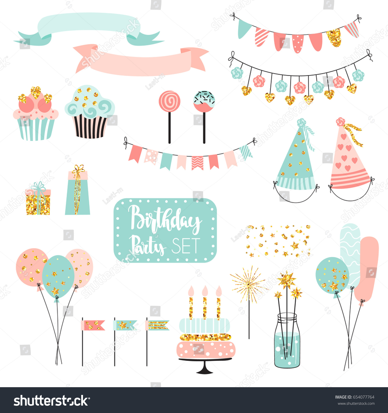 Set Vector Birthday Party Elements Colorful Stock Vector 654077764