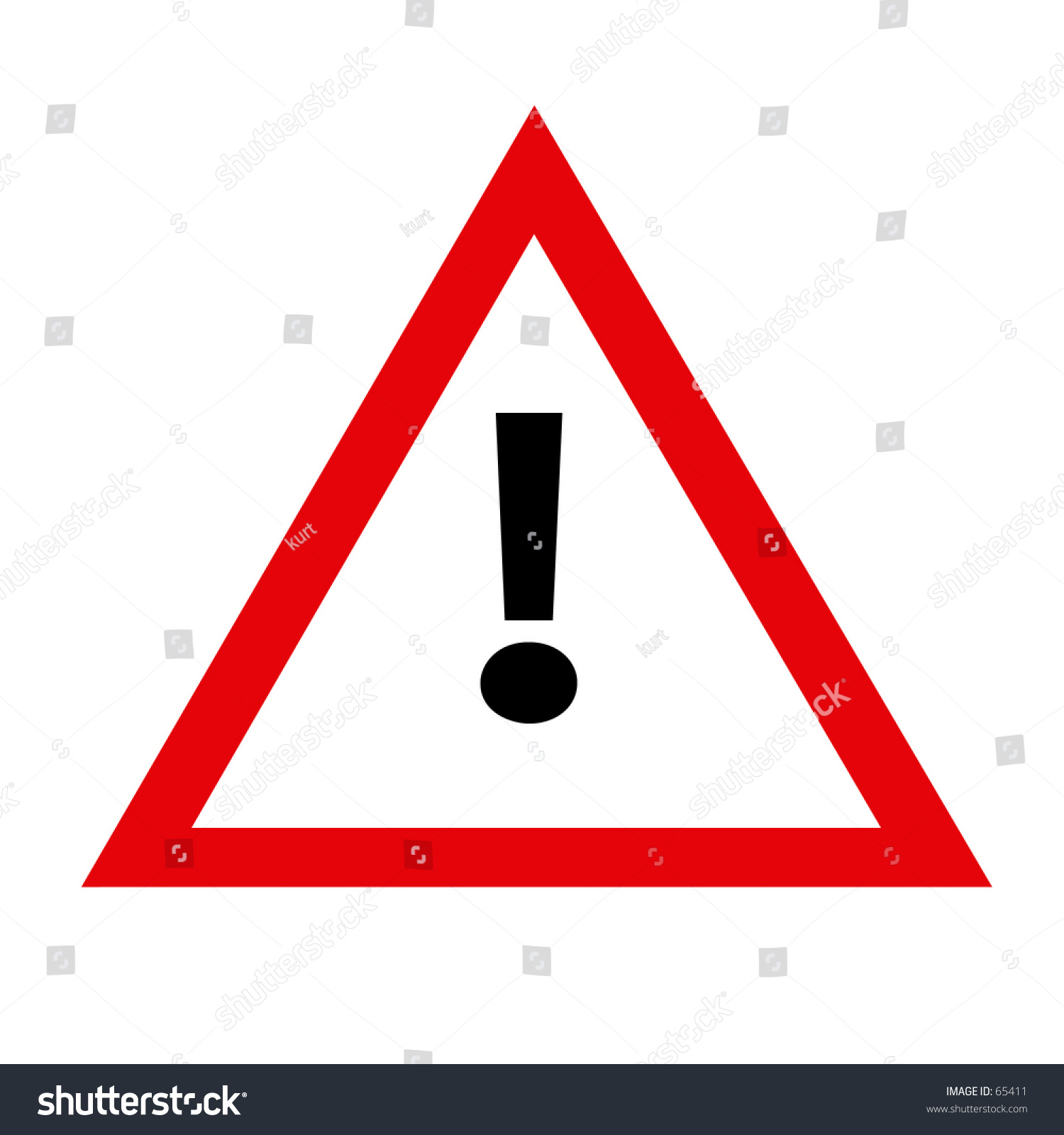 redwhite traffic sign triangle shaped exclamation stock