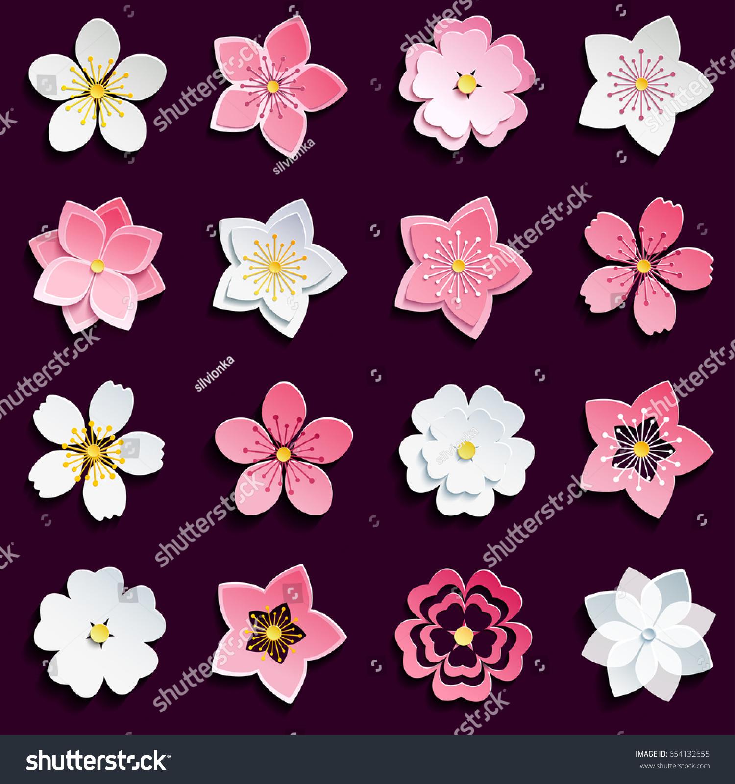 Set Beautiful Pink White 3 D Sakura Stock Vector 654132655