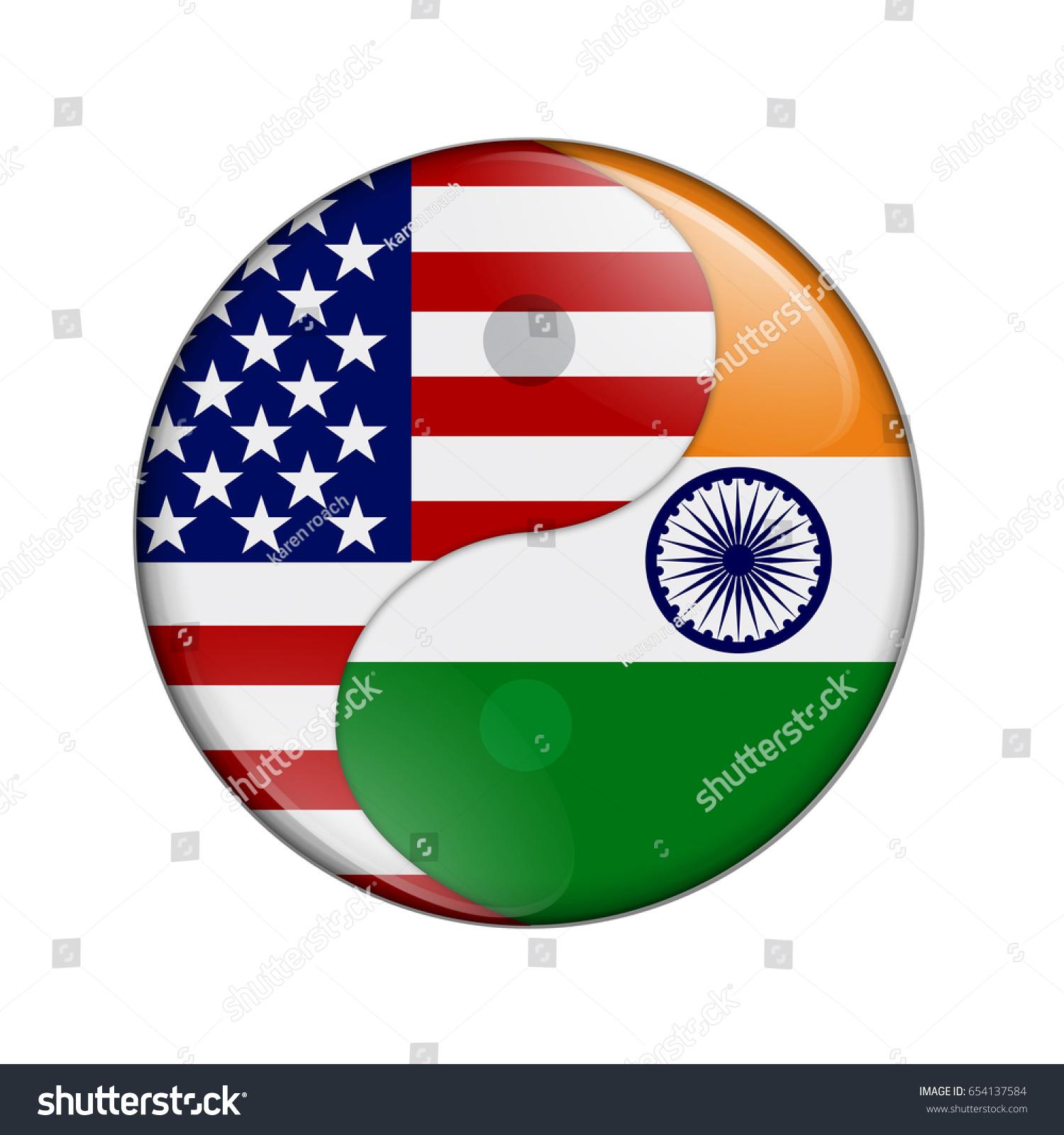 Usa India Working Together Us Flag Stock Illustration 654137584