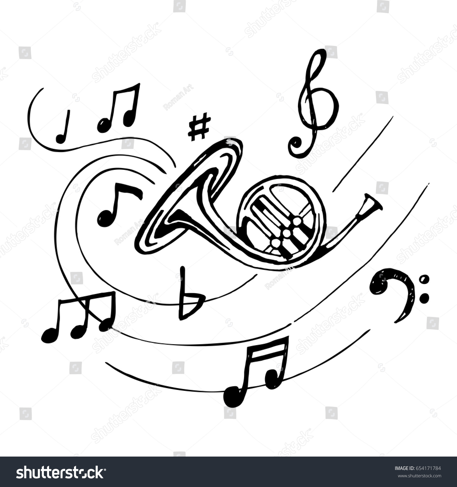 french horn notes sketch vintage trumpet stock vector 654171784