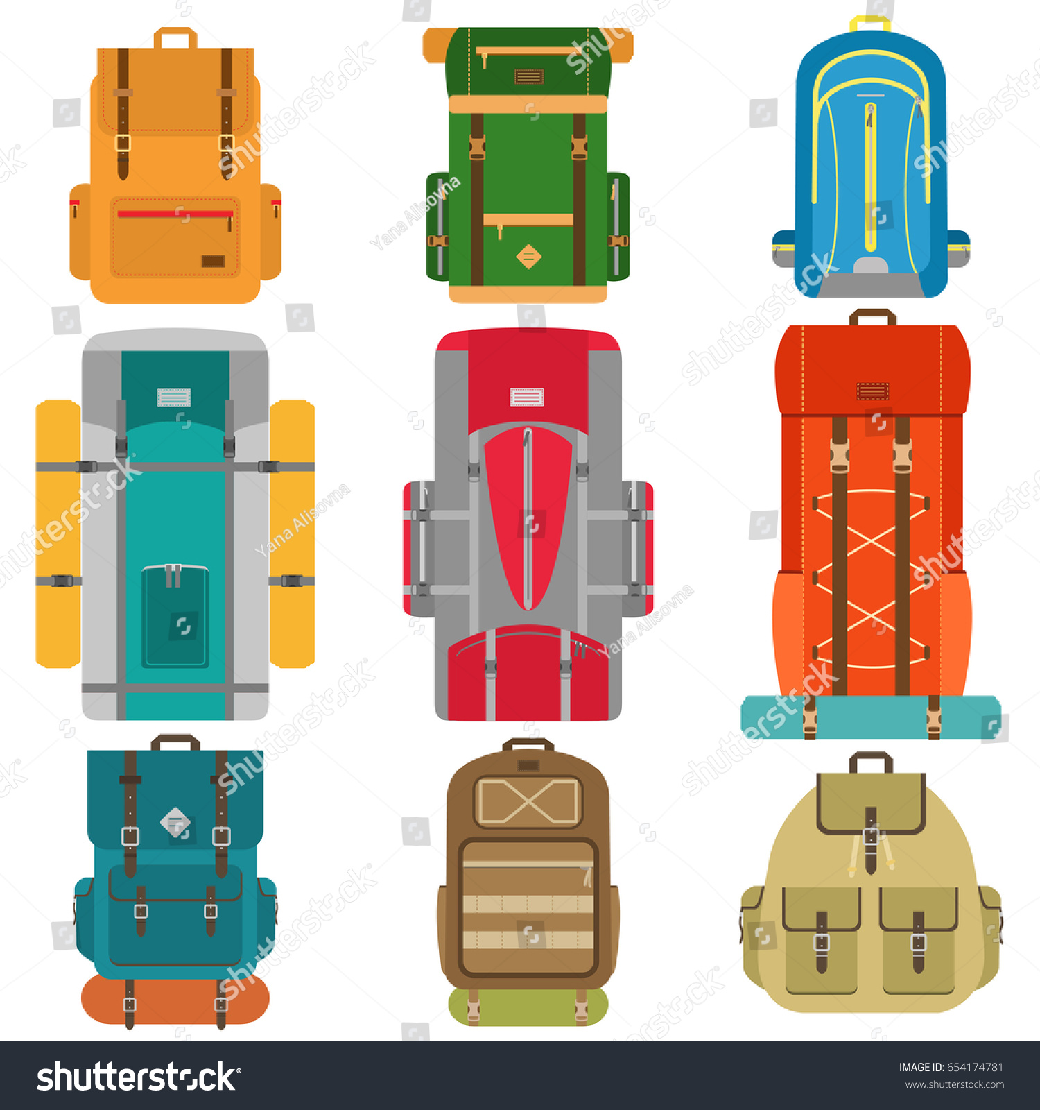 Set Of Camping Backpacks Tourist Hiking With Sleeping Bags Flat Design Vector Illustration