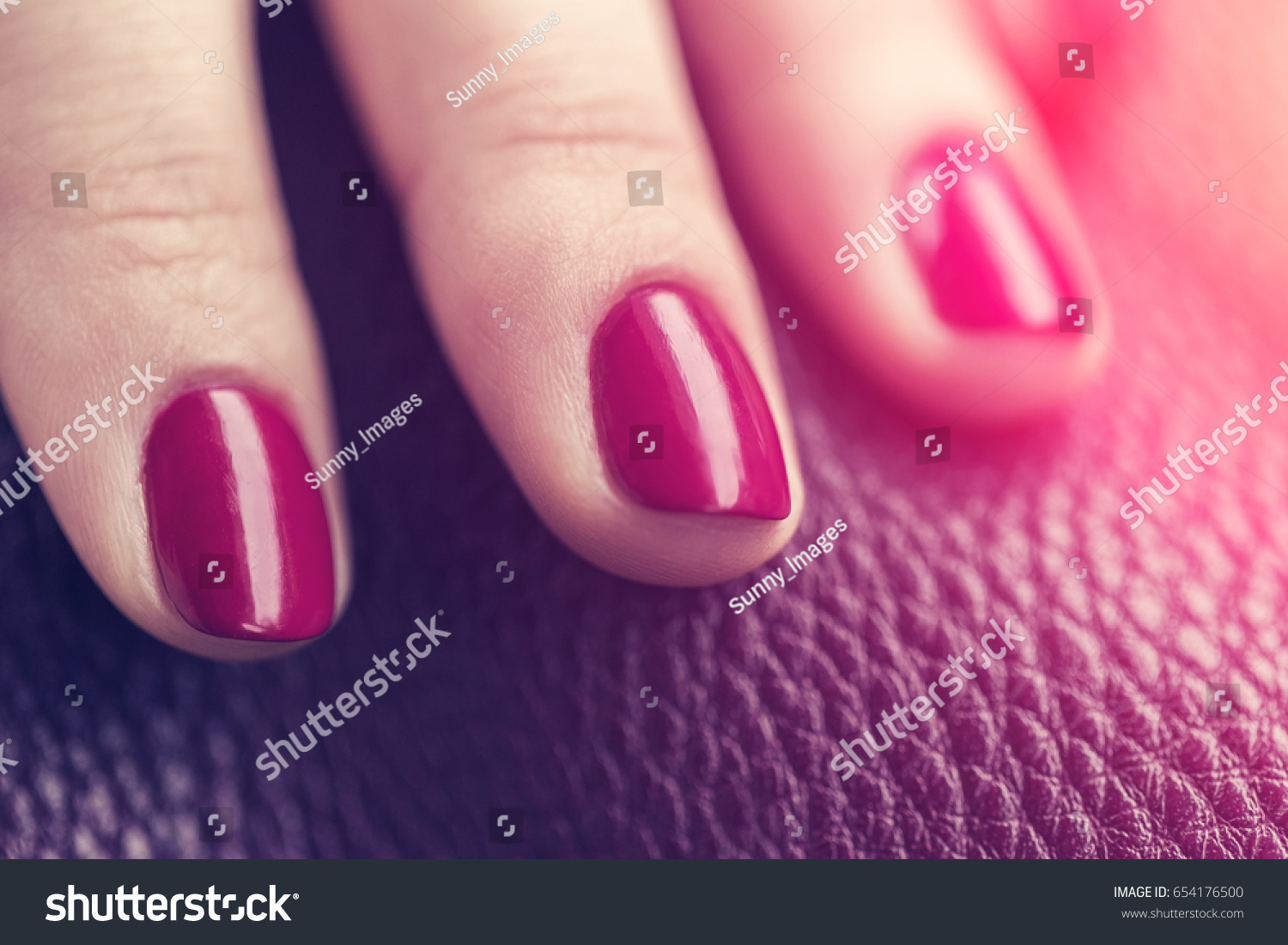Red Wine Color Nails Manicure Leather Stock Photo Edit Now 654176500