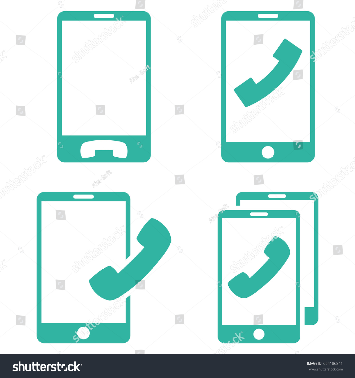 Mobile phones vector icon set collection stock vector 654186841 mobile phones vector icon set collection style is cyan flat symbols on a white background biocorpaavc