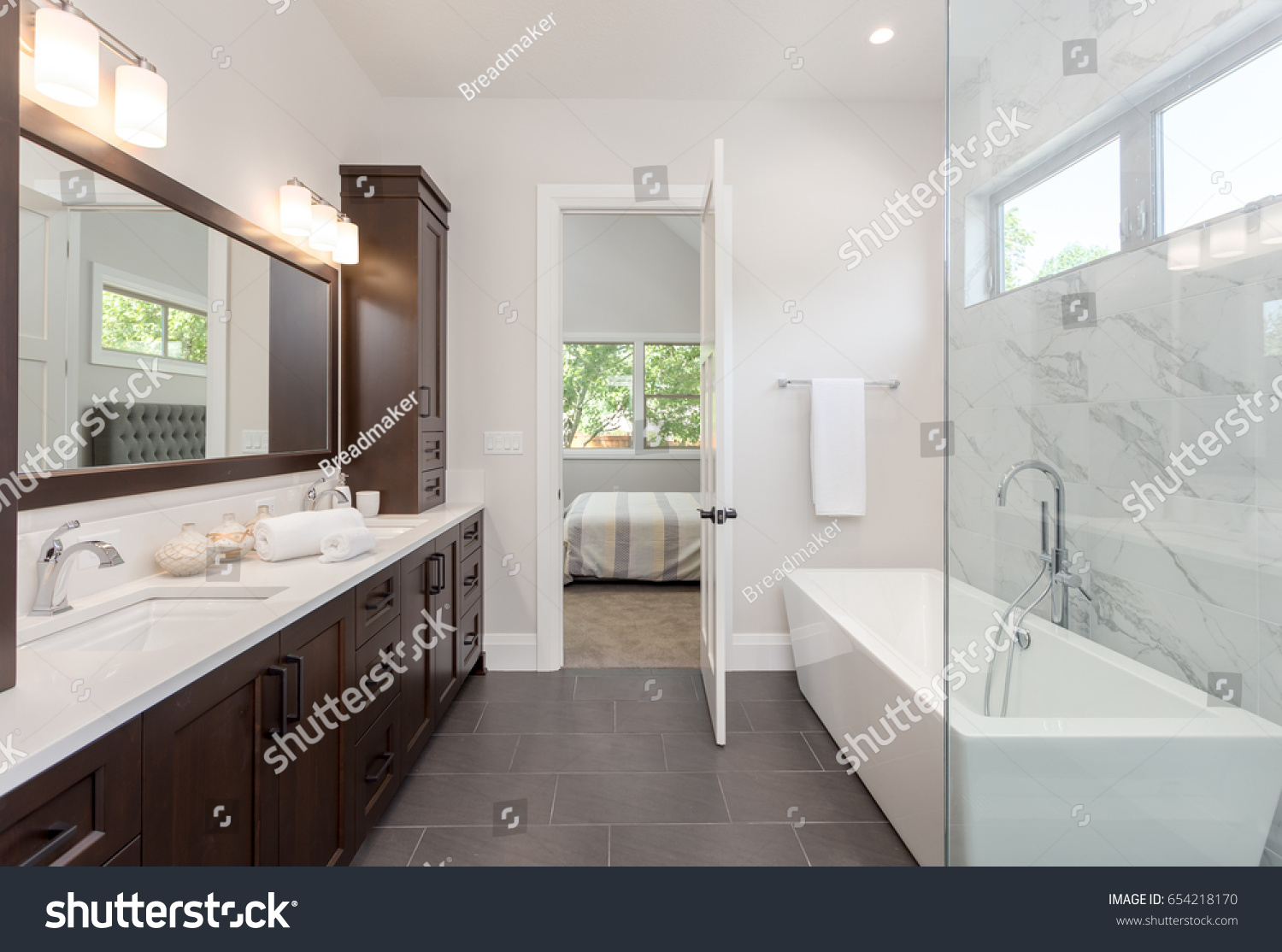 Master Bathroom New Luxury Home Tile Stock Photo (Download Now ...
