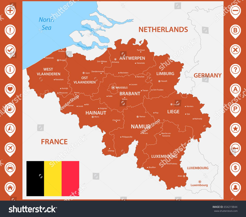 Detailed Map Belgium Regions States Cities Stock Vector - Belgium regions map