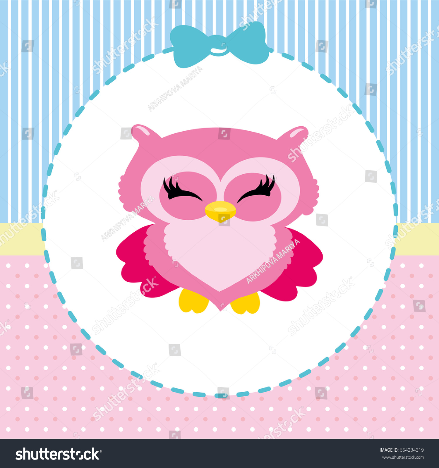 Cute owl childrens vector picture girls stock vector 654234319 cute owl childrens vector picture for girls new arrival card baby shower stopboris Choice Image