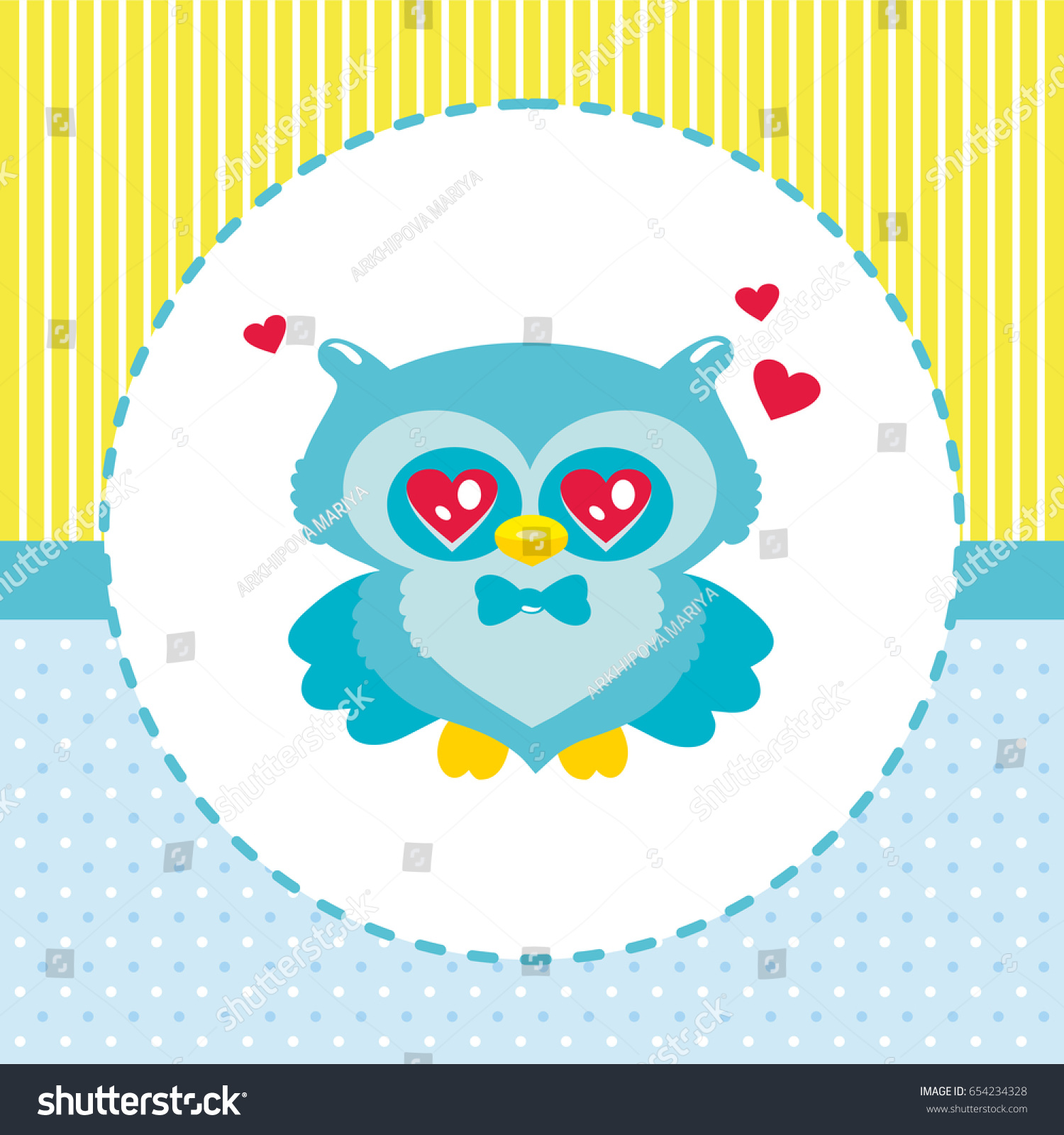 Cute owl childrens vector picture new stock vector 654234328 cute owl childrens vector picture new arrival card baby shower invitation stopboris Choice Image
