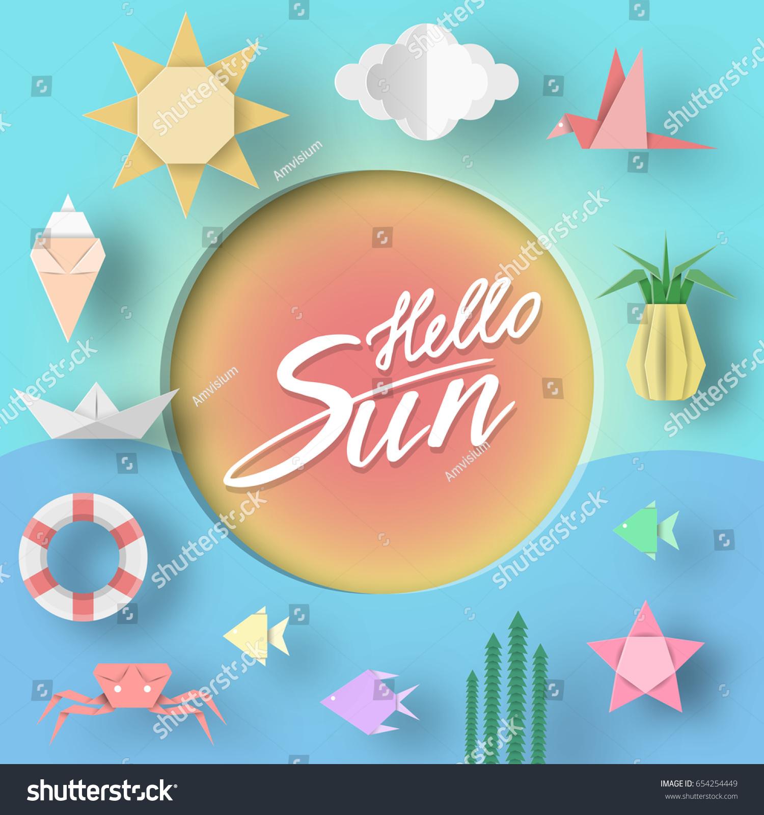 Hello Sun Paper Applique Summer Symbols Stock Vector Royalty Free