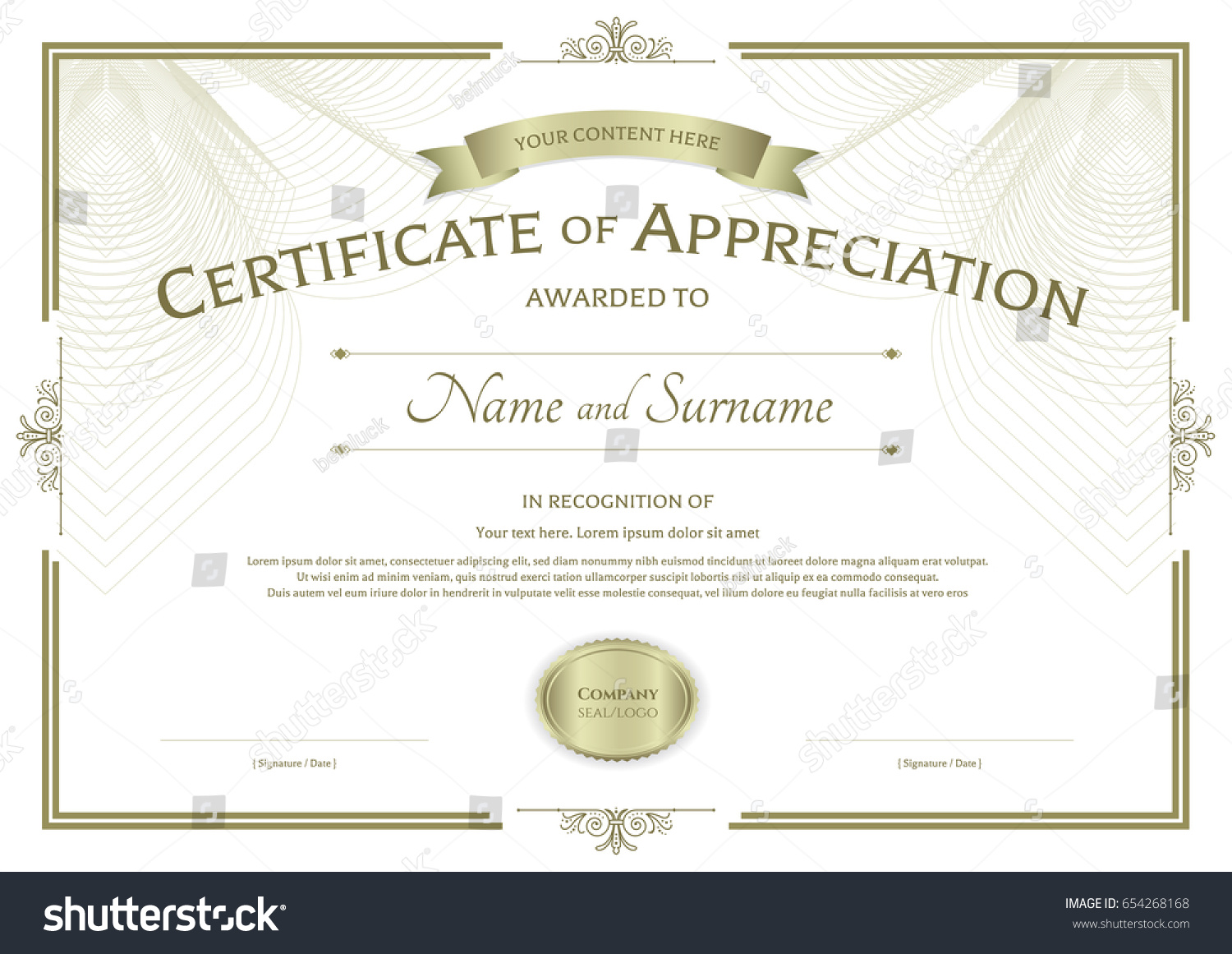 Certificate appreciation template award ribbon on stock vector certificate of appreciation template with award ribbon on abstract guilloche background with vintage border style yadclub Image collections