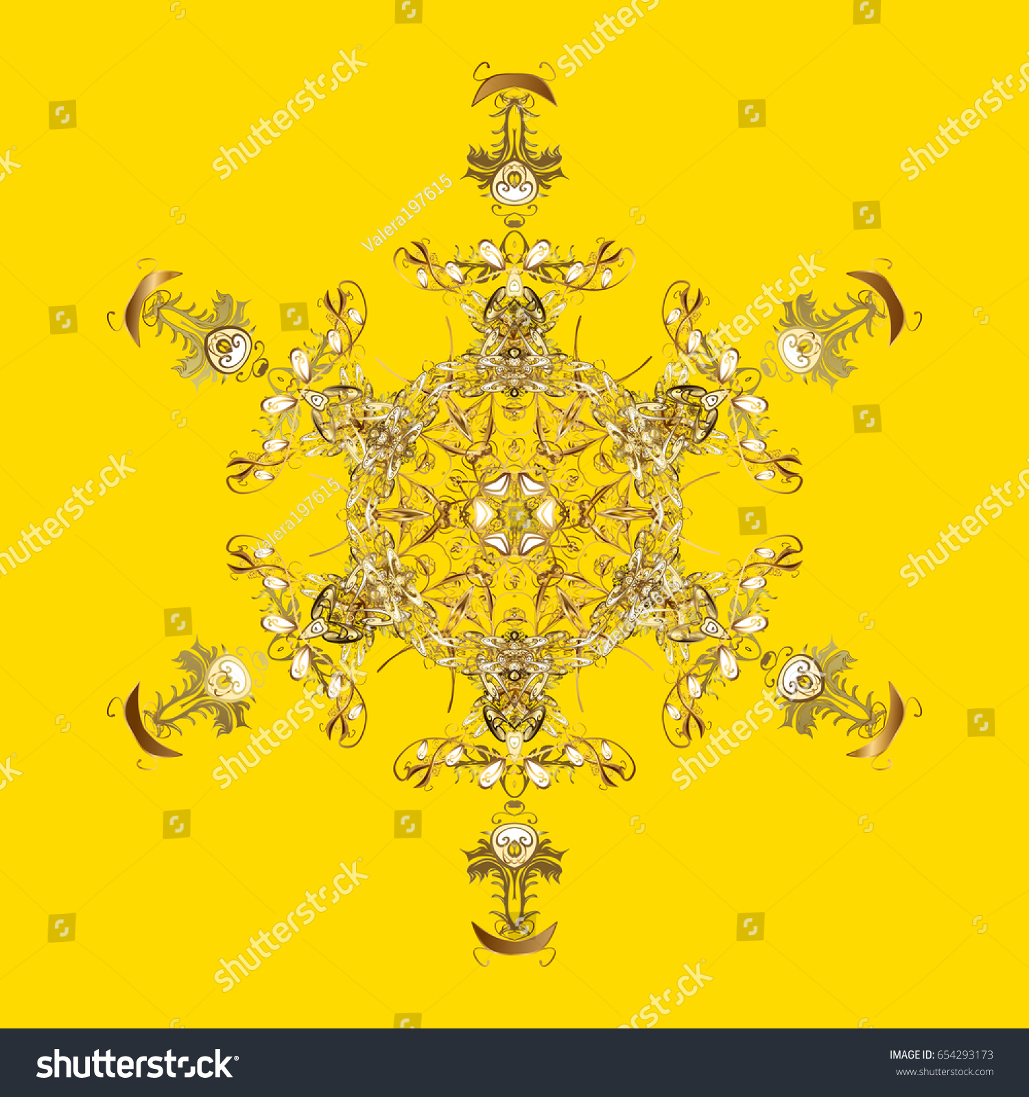 new year 2018 golden snowflake on yellow background cute abstract snowflakes pattern flat snow