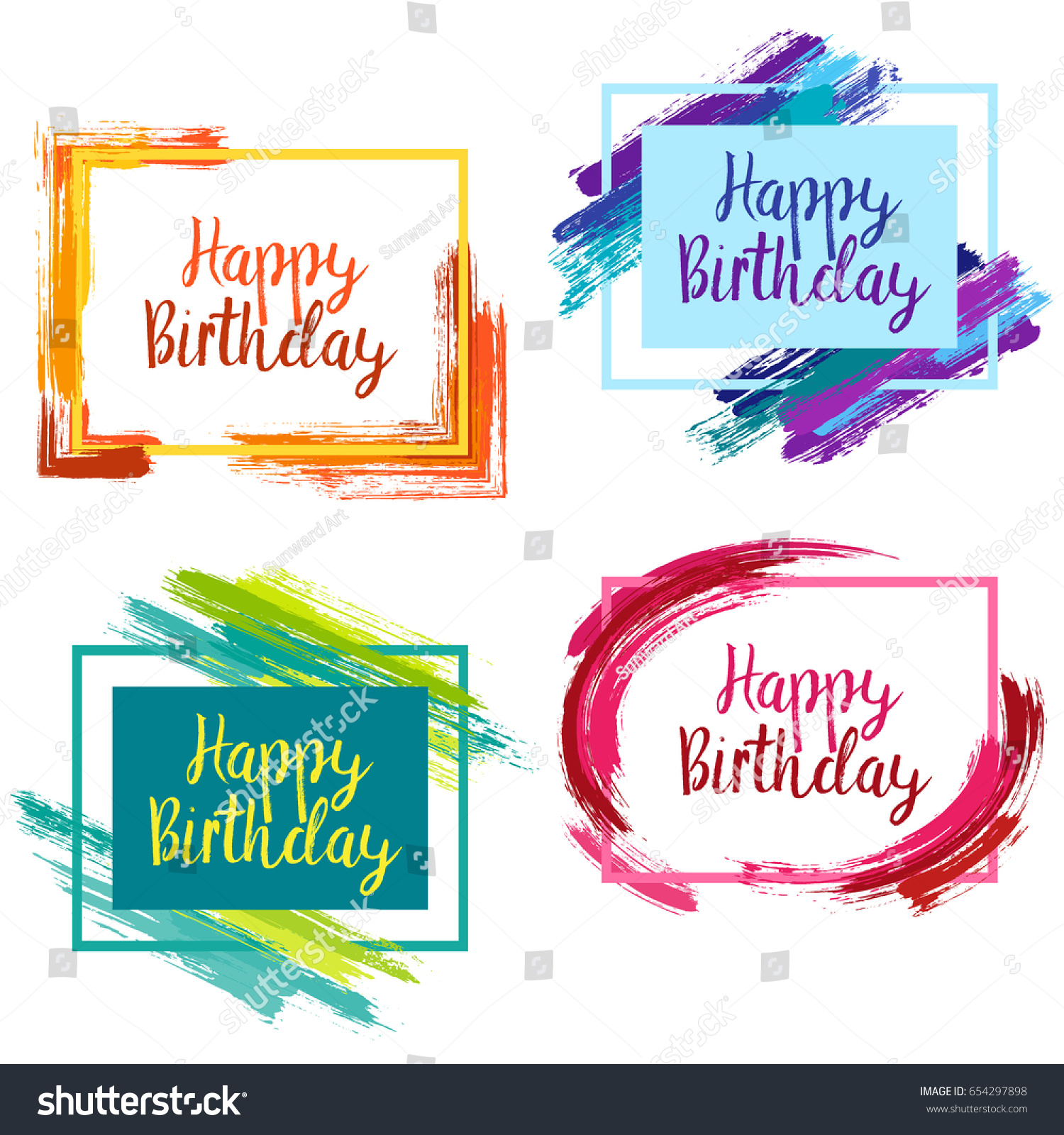 Happy Birthday Borders Pink Blue Yellow Vector 654297898 – Birthday Cards Borders