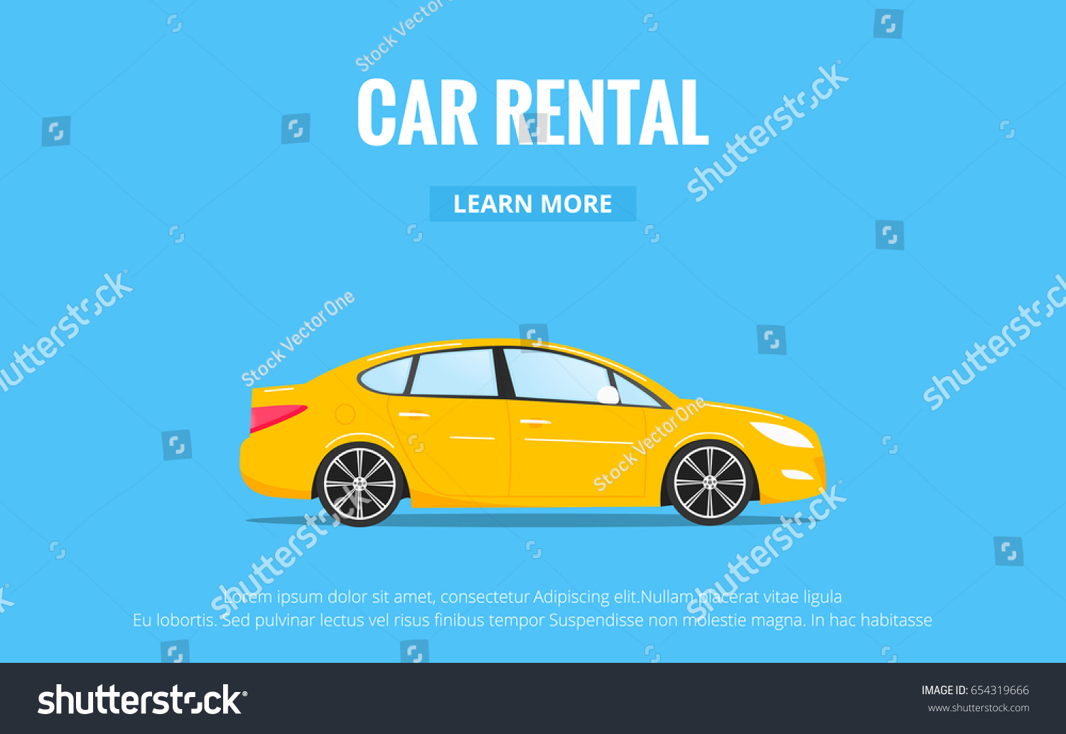 Car Rental Modern Automobile Trendy Style Stock Vector Royalty Free 654319666