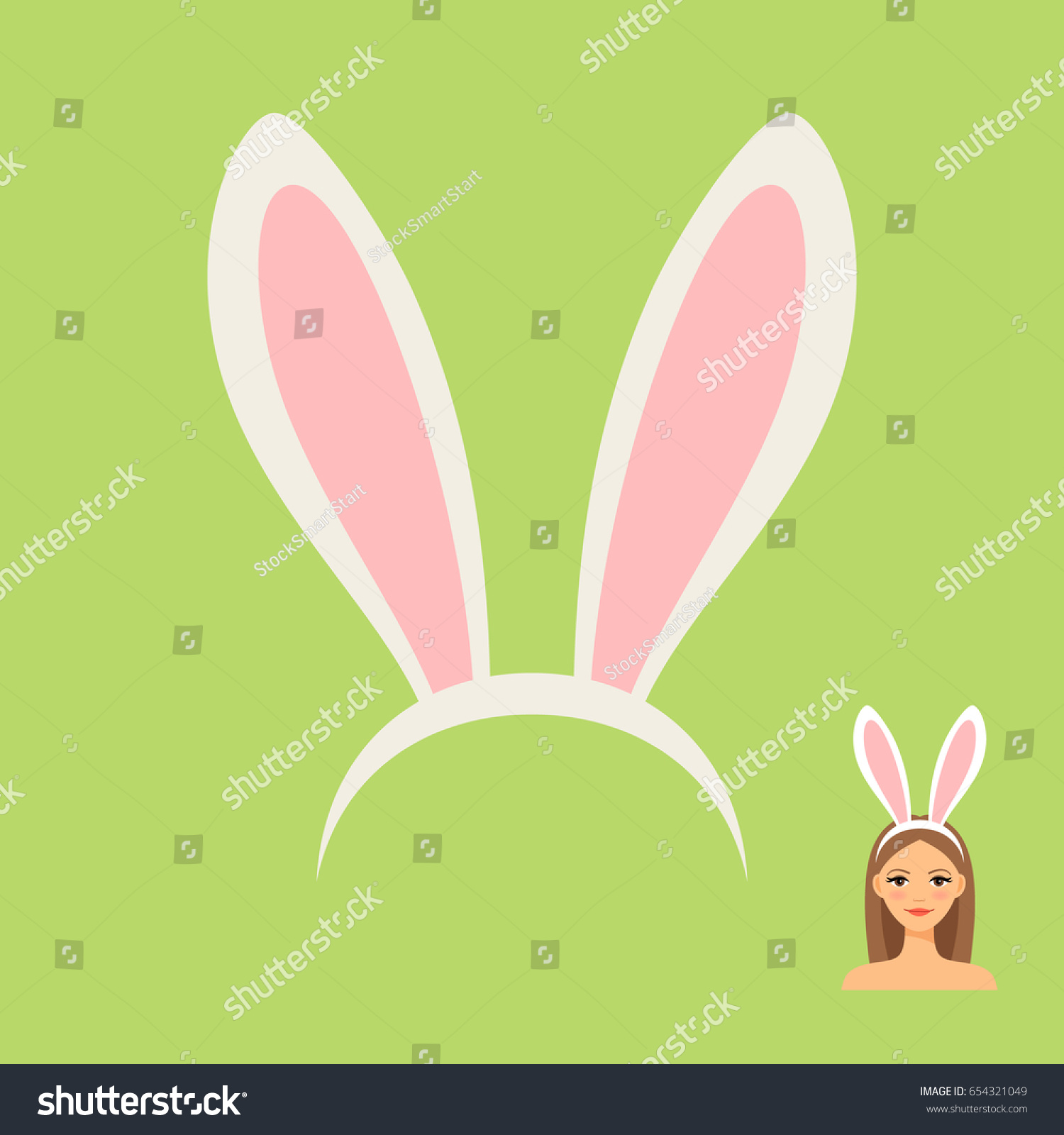 rabbit ears head accessory girls face stock vector 654321049