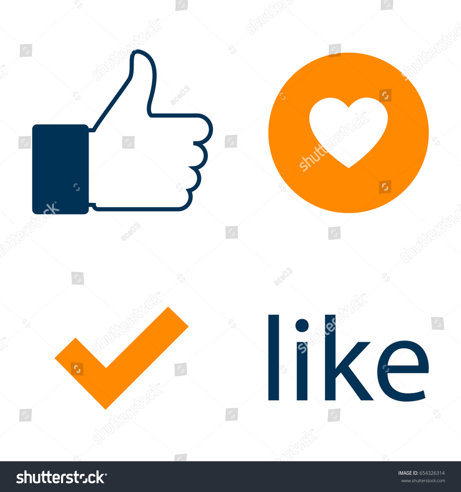 Set Like Icon Facebook Like Counter Stock Vector Royalty Free
