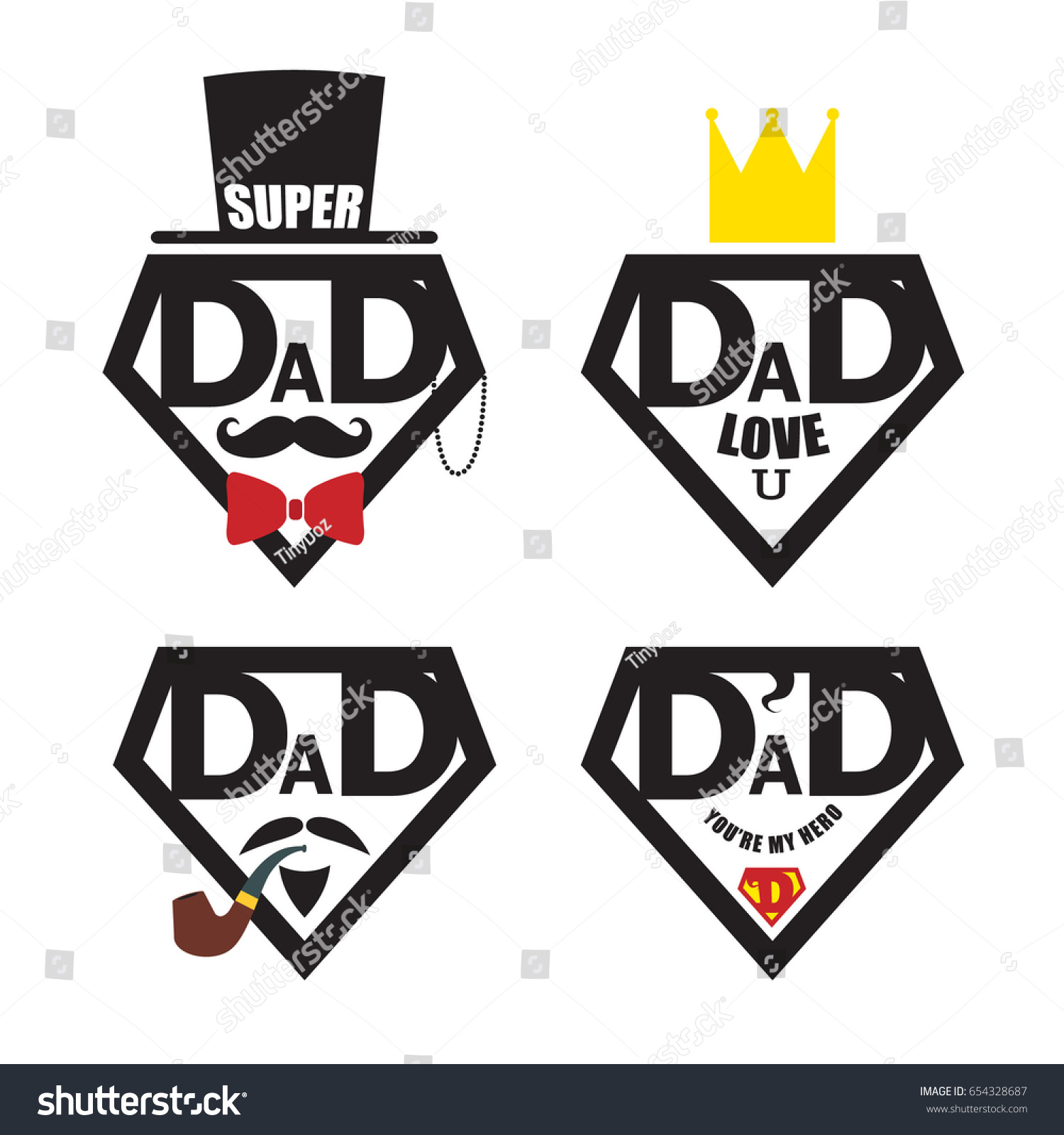 set fathers day icon symbol isolated stock vector 654328687