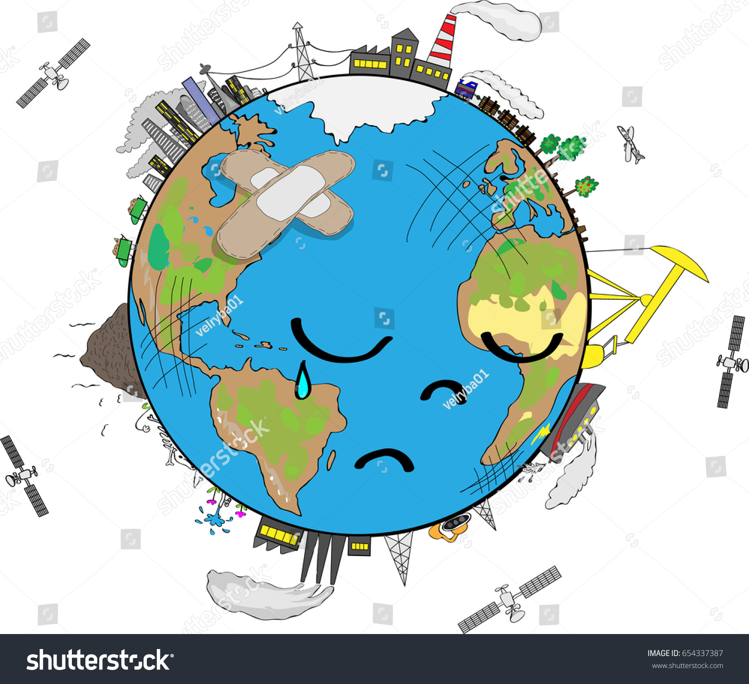Sad Planet Earth Crying Polluted Stock Vector 654337387 ...