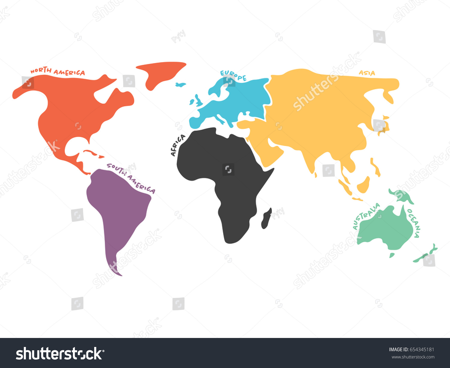 Multicolored world map divided six continents vectores en stock multicolored world map divided to six continents in different colors north america south america gumiabroncs Image collections