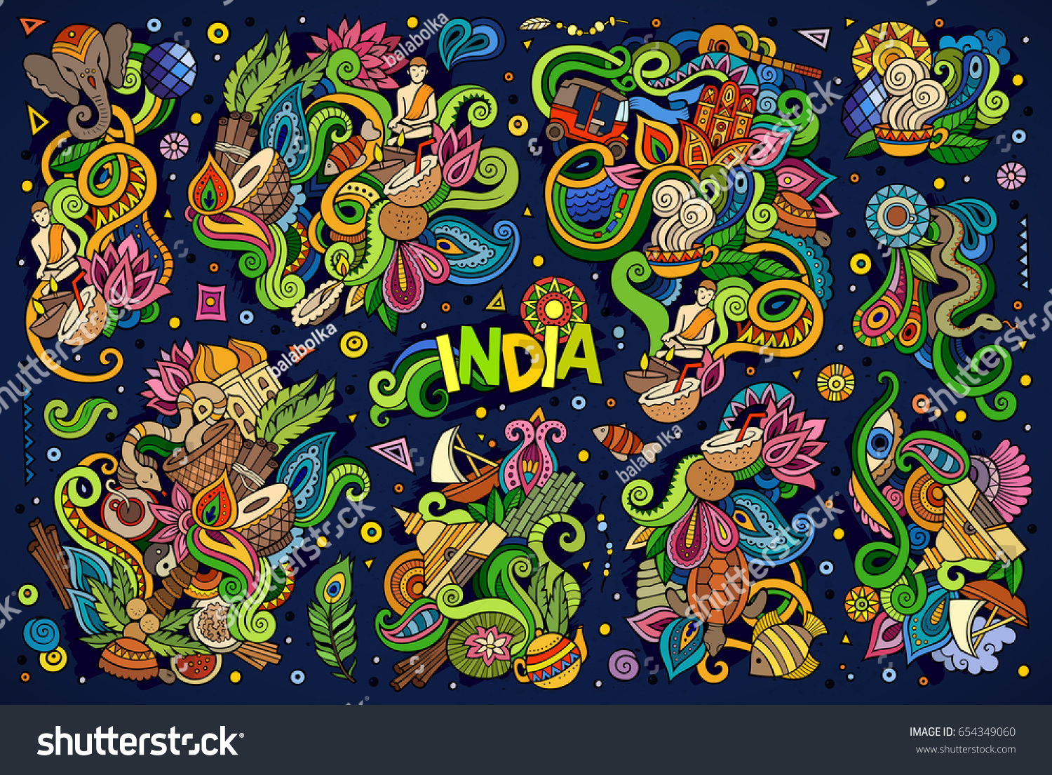 Colorful vector hand drawn doodle cartoon stock vector 654349060 colorful vector hand drawn doodle cartoon set of indian objects and symbols designs buycottarizona