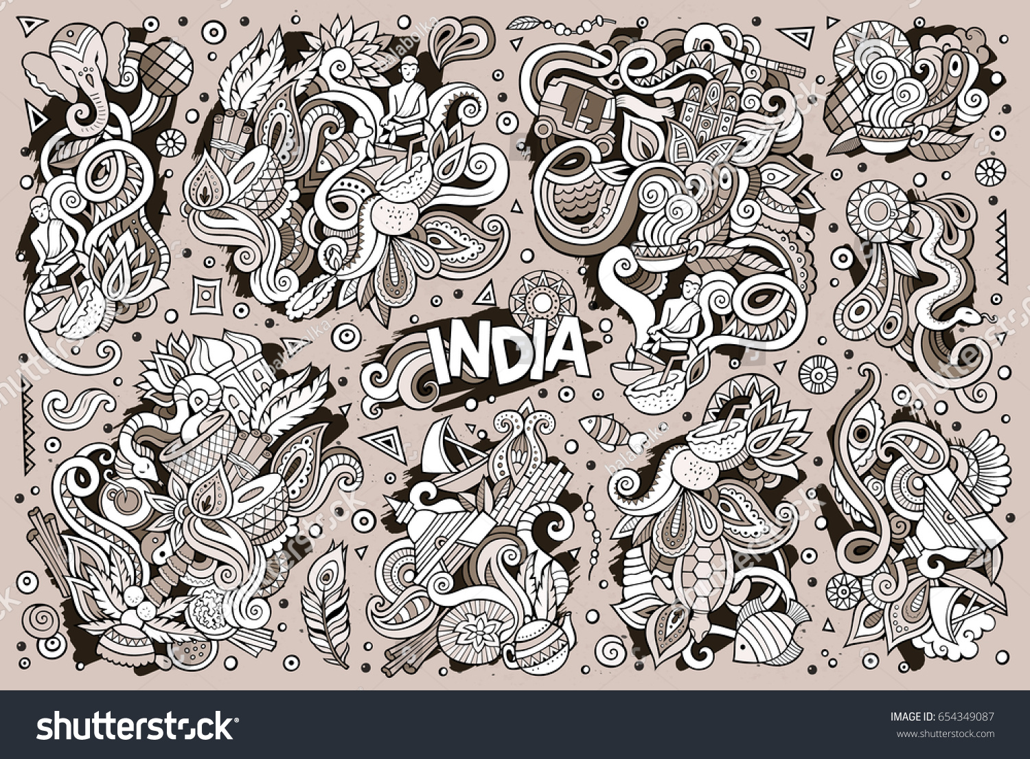 Sketchy vector hand drawn doodle cartoon stock vector 654349087 sketchy vector hand drawn doodle cartoon set of indian objects and symbols designs buycottarizona