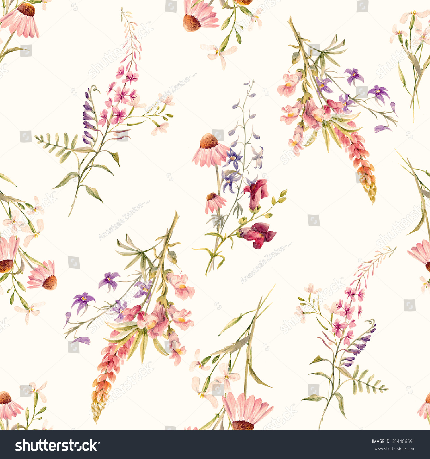 Watercolor Floral Pattern Delicate Flower Summer Stock Illustration