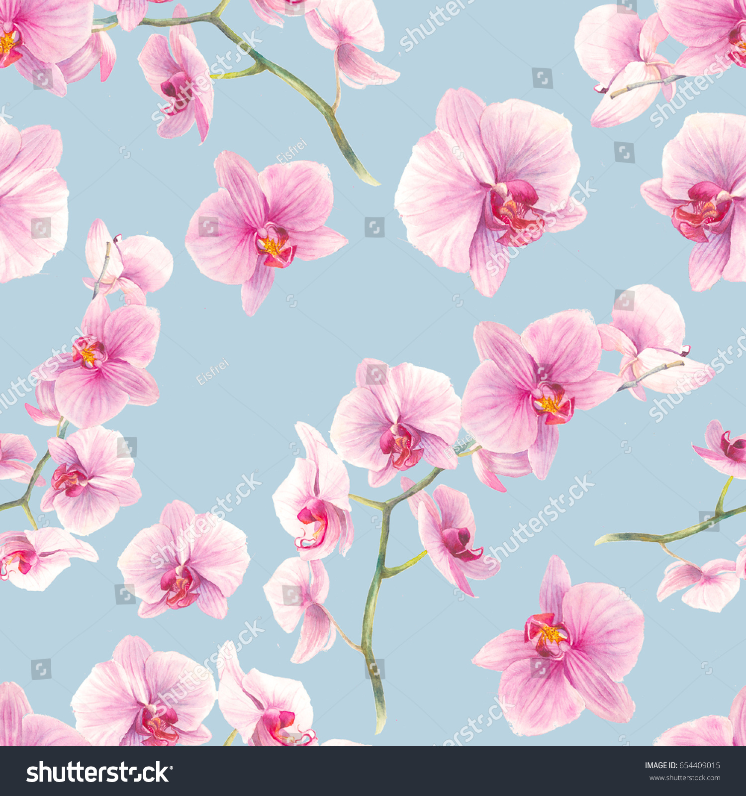 Watercolor Orchid Flowers Seamless Pattern Hand Drawn Wallpaper Design Repeating Texture With Floral Branches And Pink On White Background