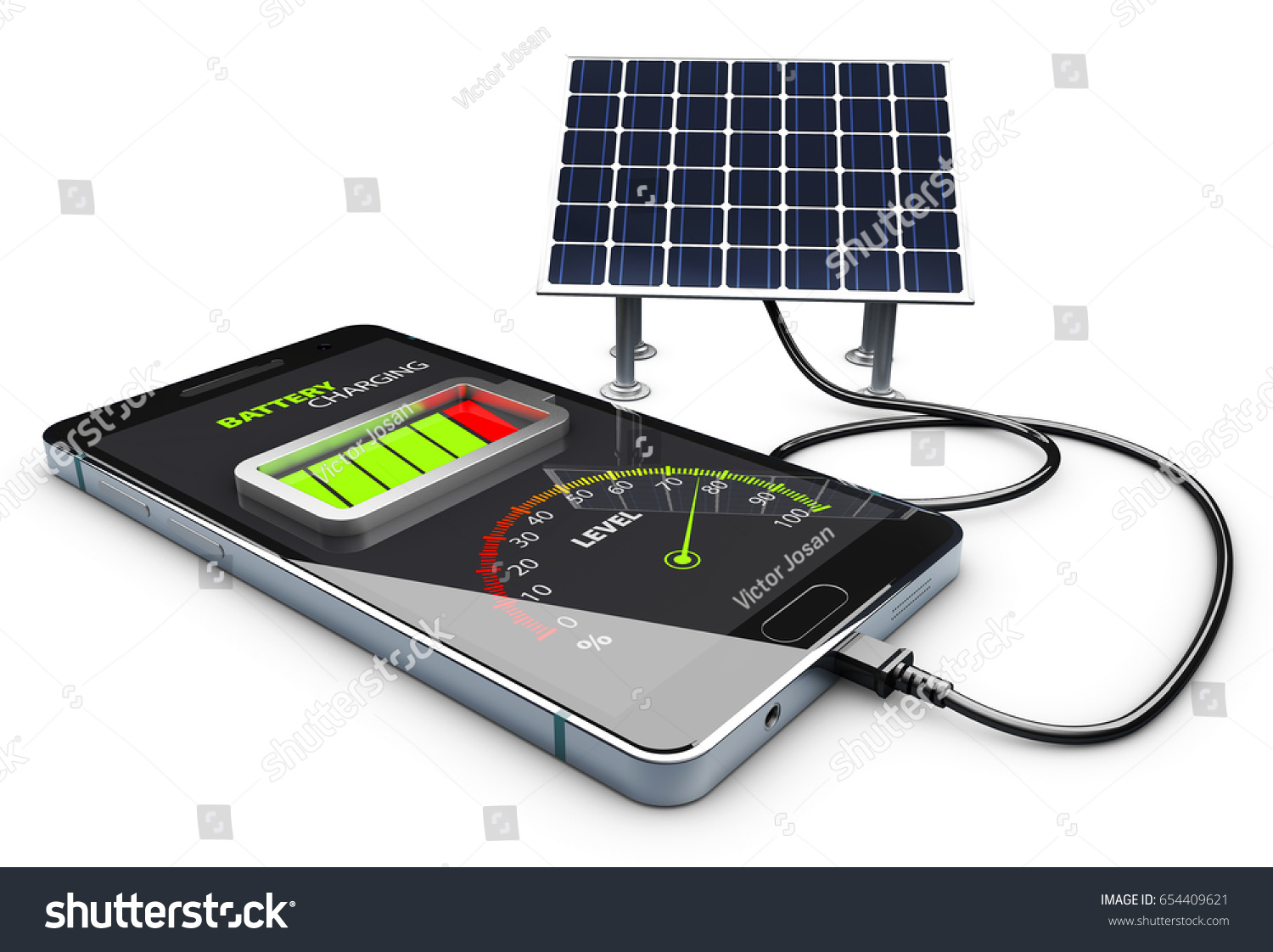 Royalty Free Stock Illustration Of 3 D Phone Charging Solar Battery 3d And